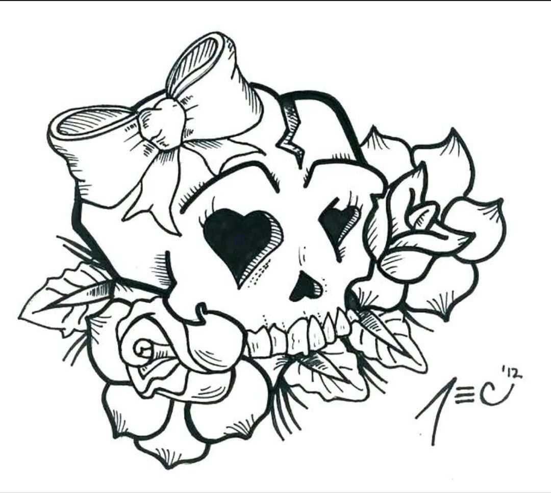 Pin By Jamie Macleod On Coloring Pages Girly Skull Tattoos Skull Coloring Pages Skull Tattoo Design