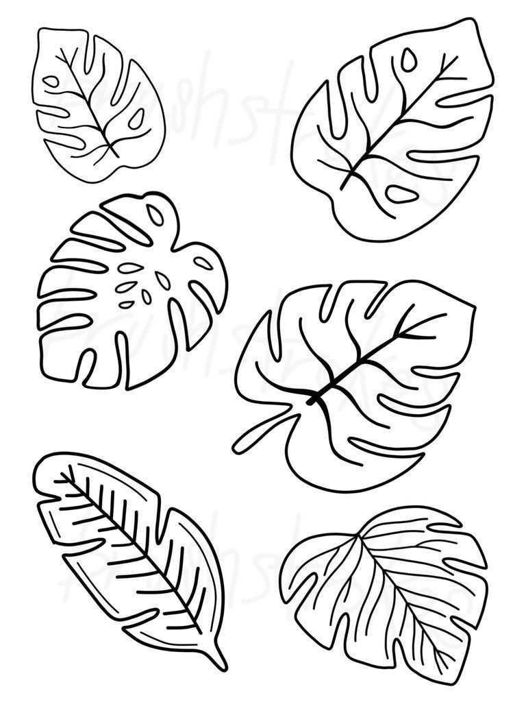 Tropisches Grun Monstera Blatter Siebdruck Tropisches Grun Monstera Blatter Siebdruck Pi In 2020 Blumen Basteln Aus Papier Blumen Schablone Blattzeichnung
