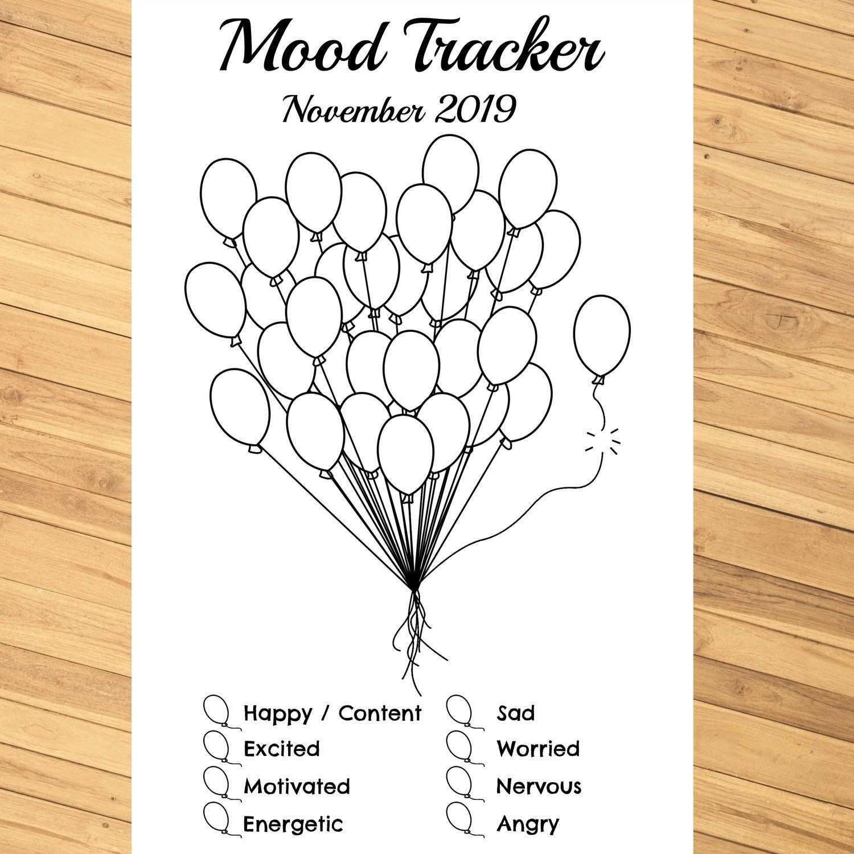 Monthly Mood Tracker Balloons Editable Printable Pdf For Etsy Bullet Journal Mood Tracker Ideas Bullet Journal Mood Bullet Journal Ideas Pages