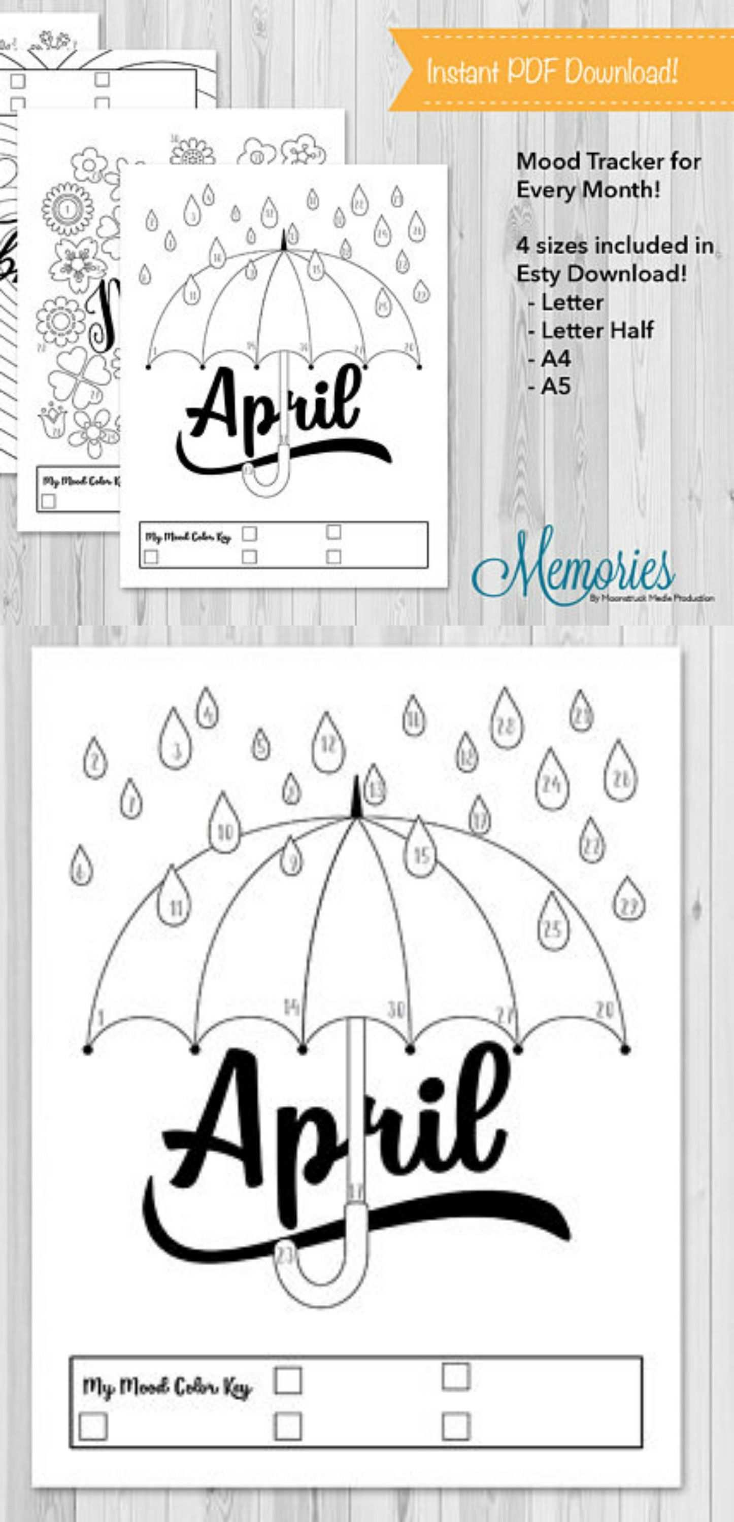 Monthly Mood Tracker Printables For Your Bullet Journal Or Planner Mood Bujo Affiliate Tracki Bullet Journal Mood Bullet Journal Printables Bullet Journal
