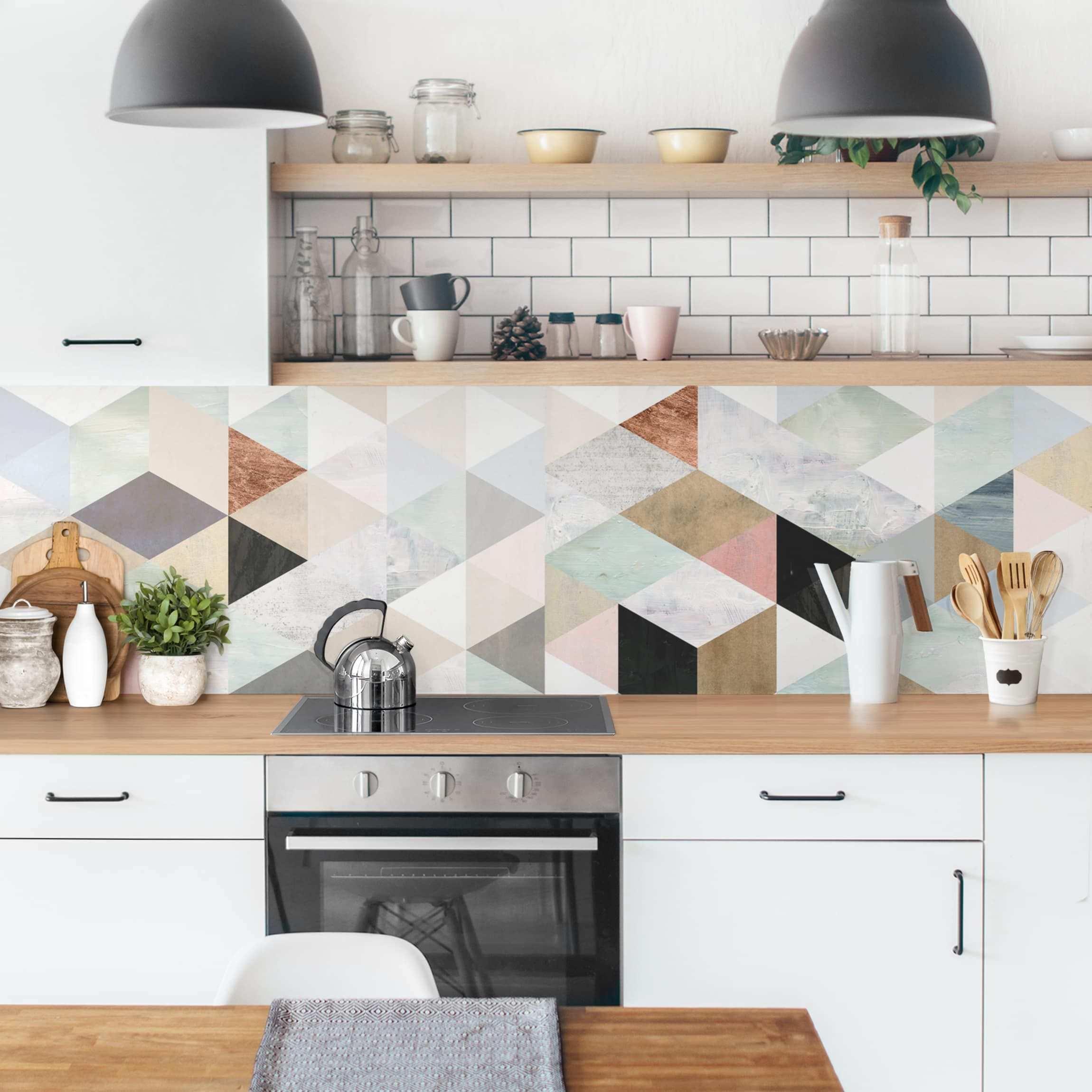 Kuchenruckwand Aquarell Mosaik Mit Dreiecken I Innenarchitektur Kuche Kuchenruckwand Kuche Mosaik