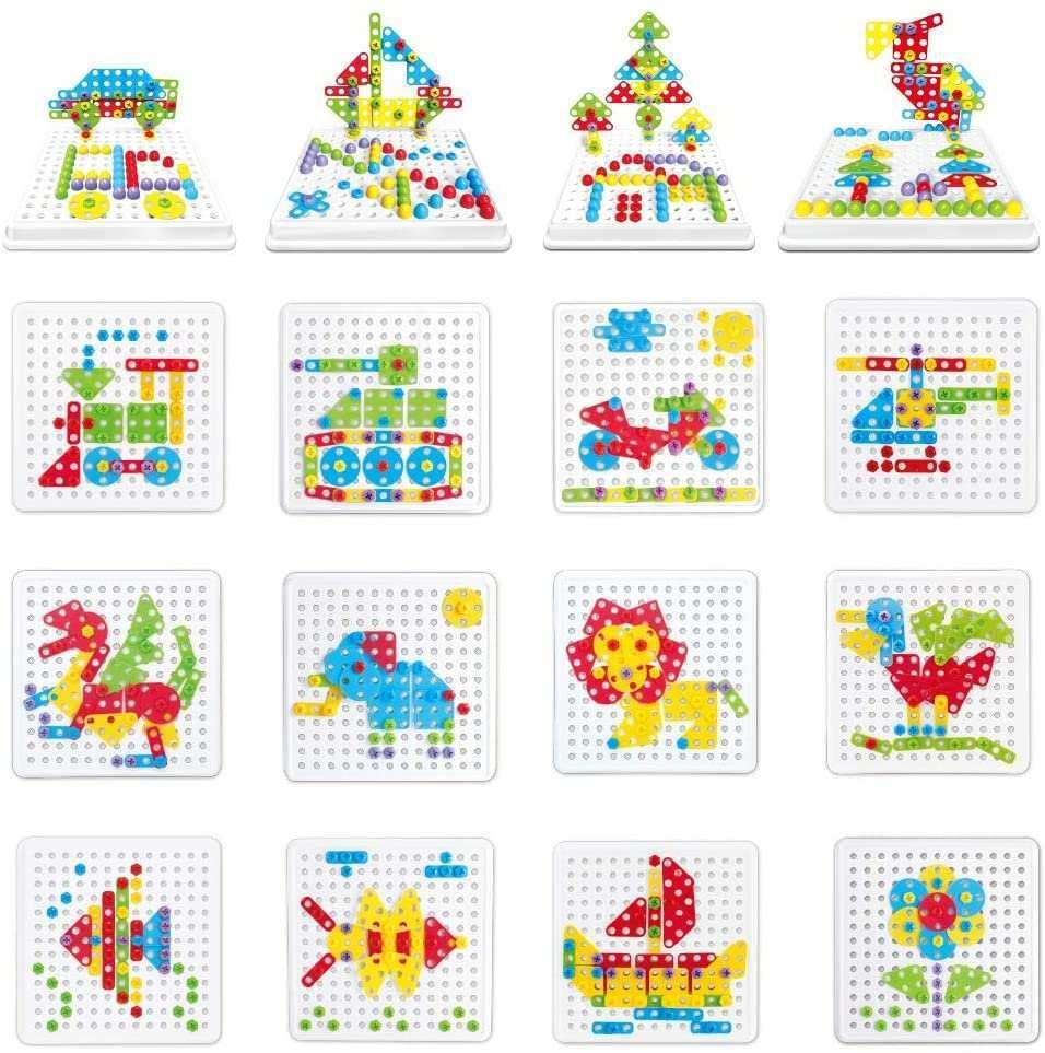 Akokie Steckspiel Montessori Spielzeug Mit Bohrmaschine Padagogisch Kreativ Spielzeug 3d Puzzle Mosaik Spiel Werkzeugkoffer Kinder Ab 3 4 5 6 Jahre Fur Jungen Madchen 223 Stucke Amazon De Spielzeug
