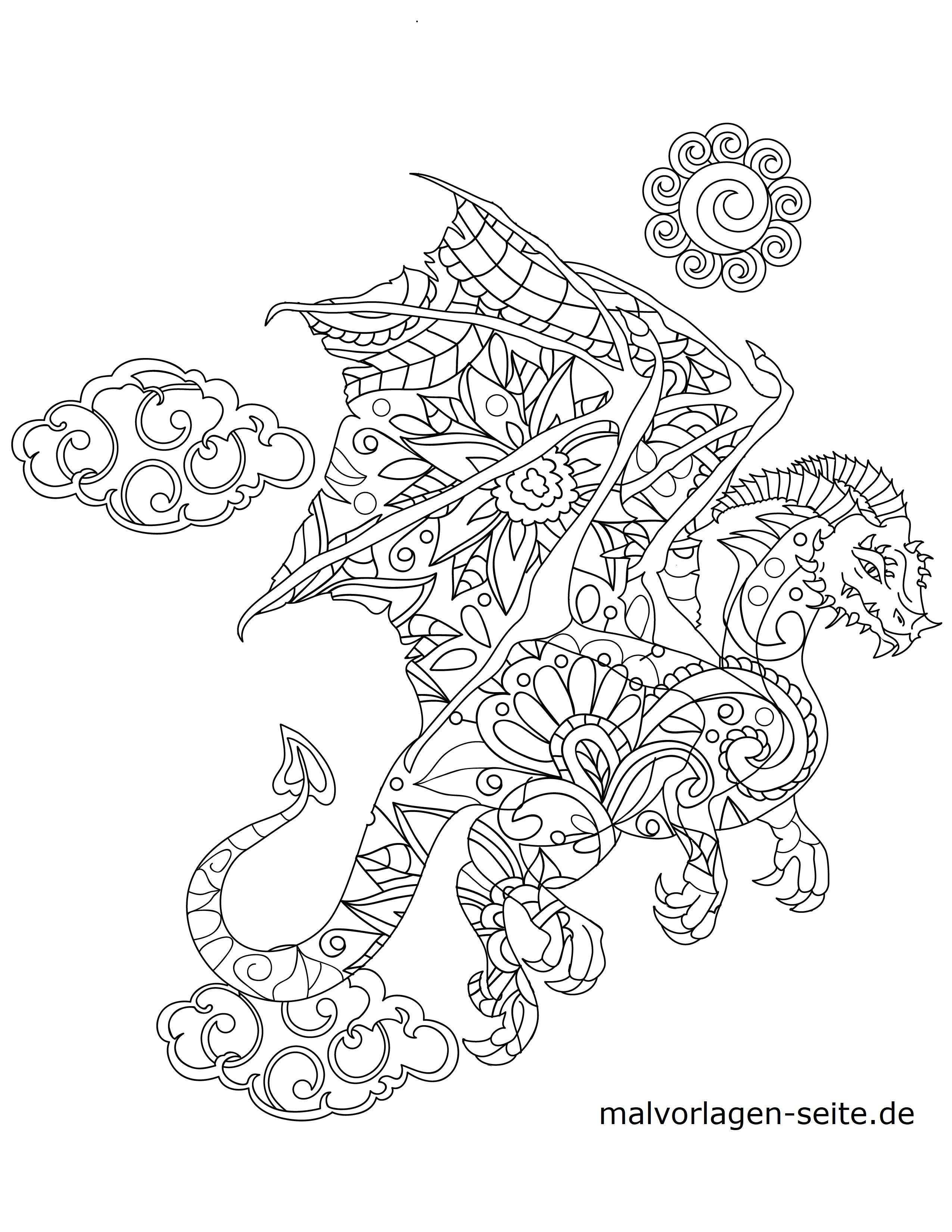 Malvorlage Tiermandala Drache Tiere Mandala Kostenlose Ausmalbilder