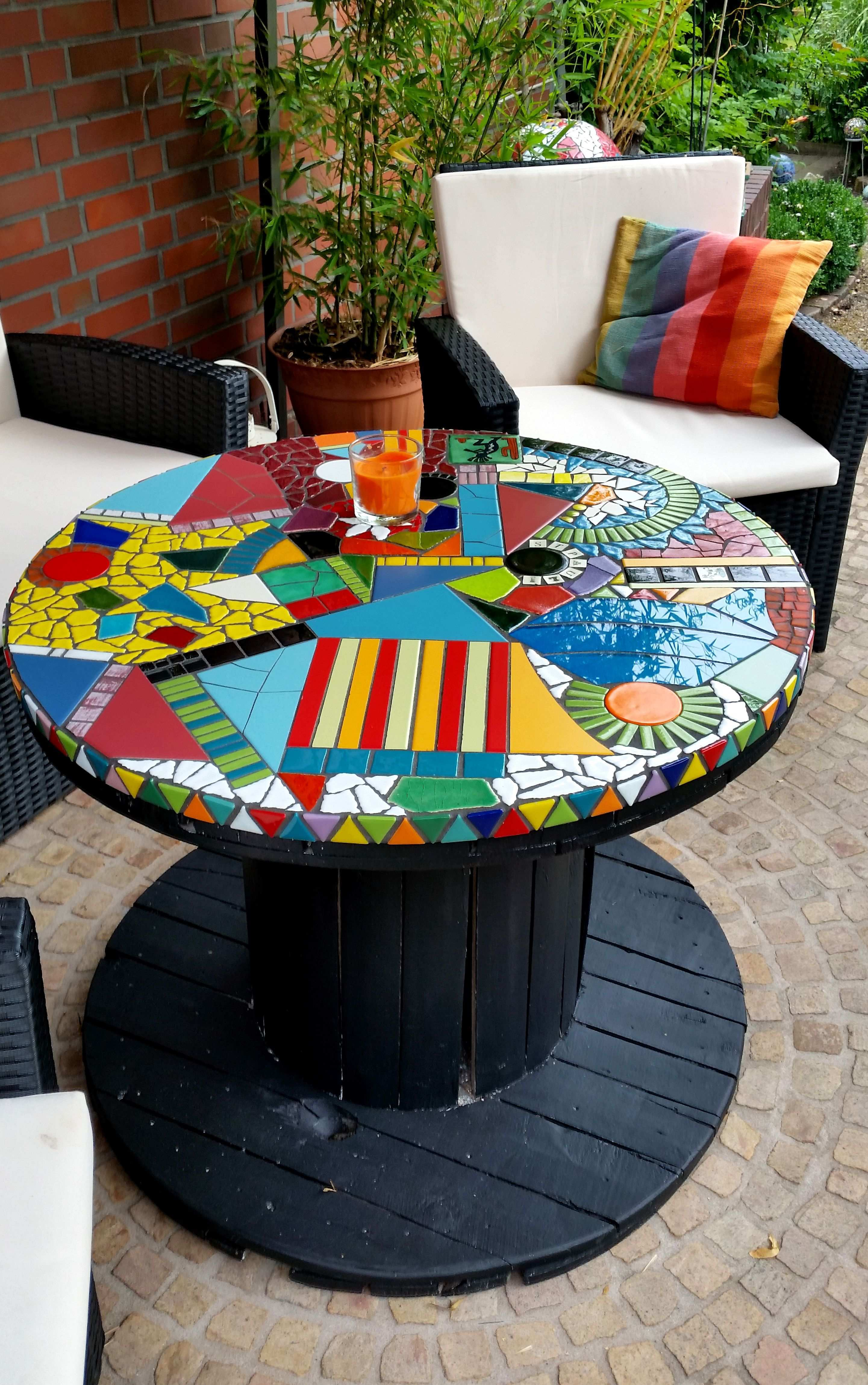 Mosaiktisch Bunter Traum Mosaik Diy Mosaik Mosaiktisch