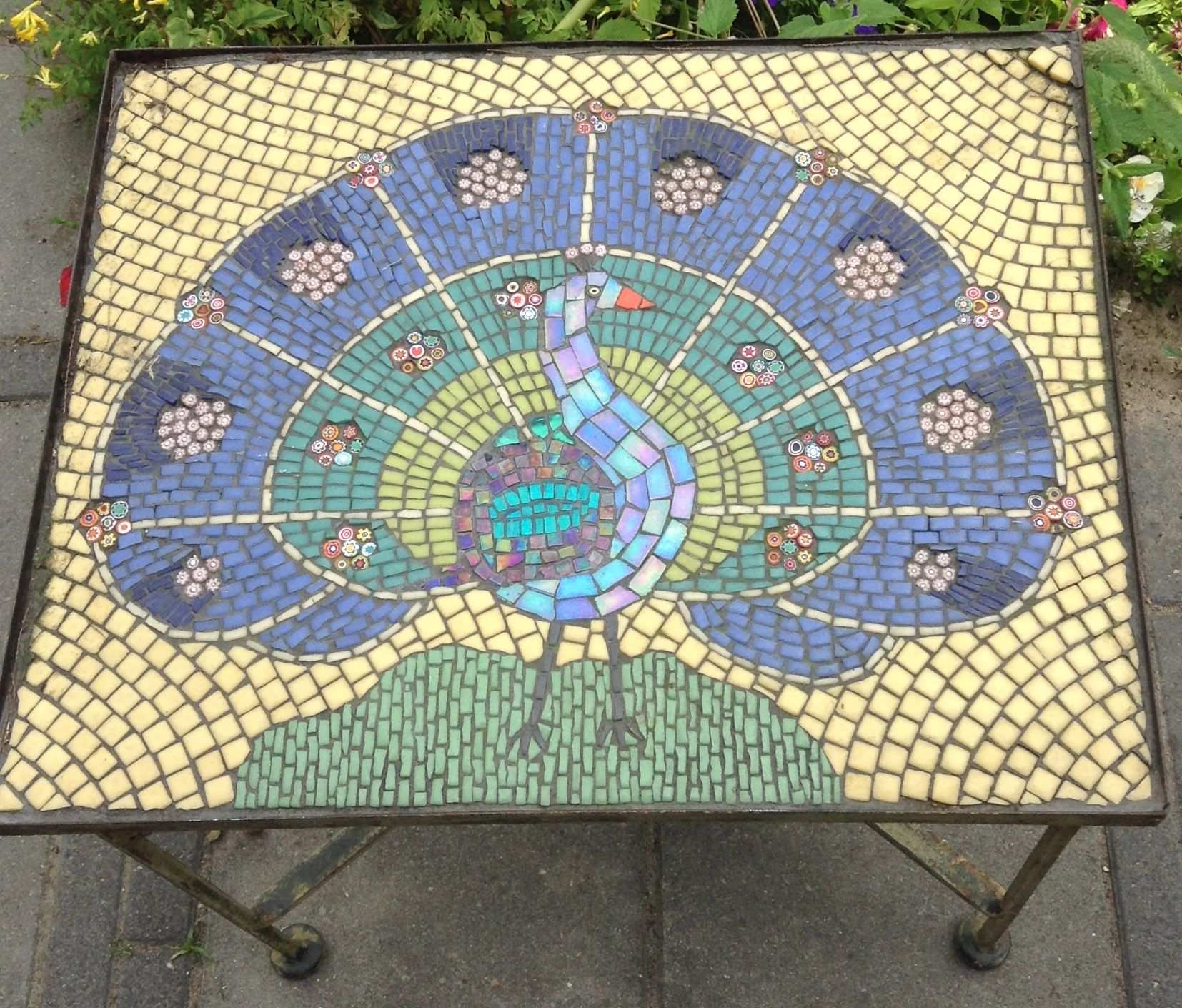 Glass Mosaic Table Peacock Monique Van Der Weijden Mosaic Art Mosaic Artwork Mosaic Pieces