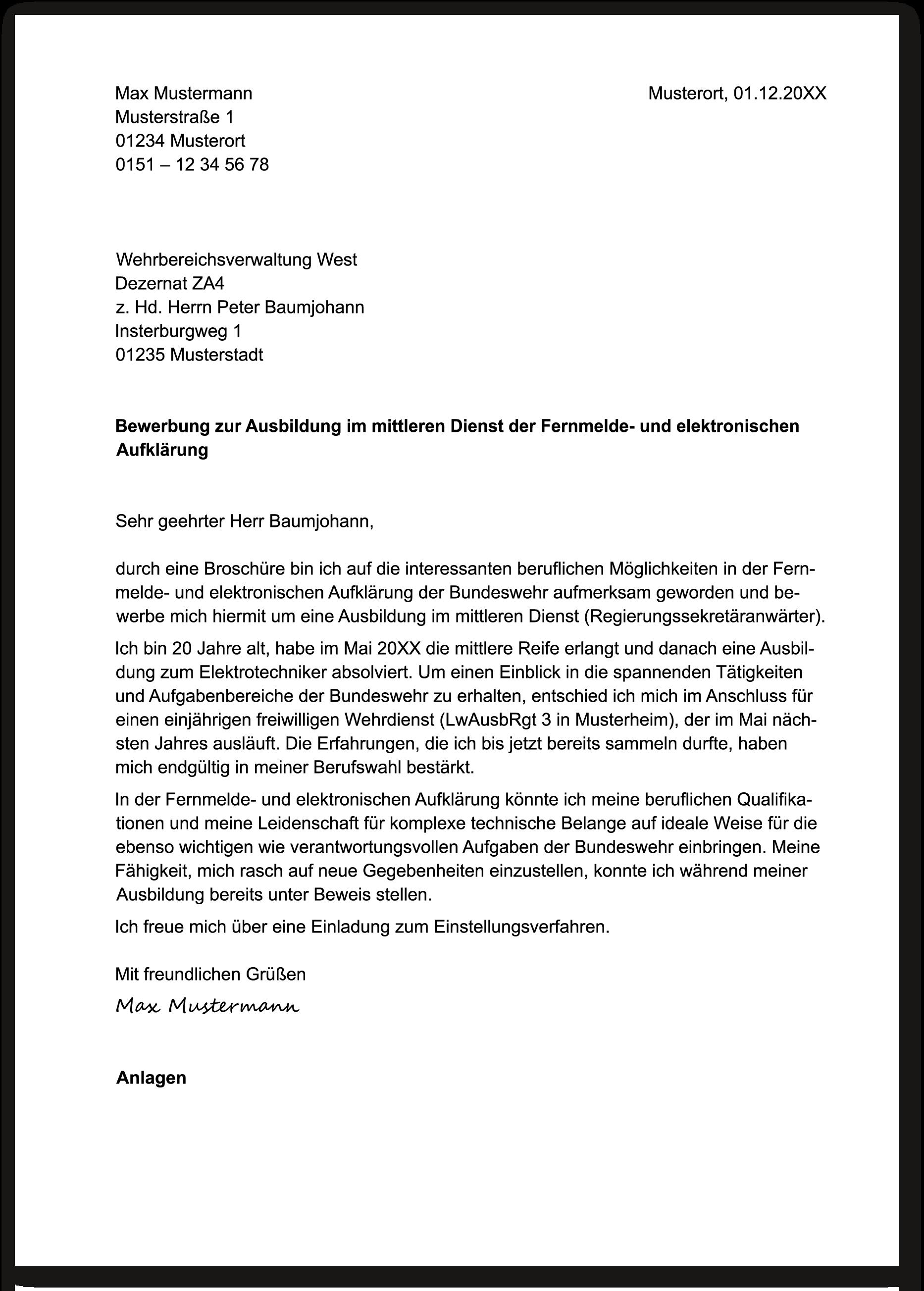 Dein Anschreiben Fur Die Bundeswehr Die Ausbildung Bei Der Bundeswehr