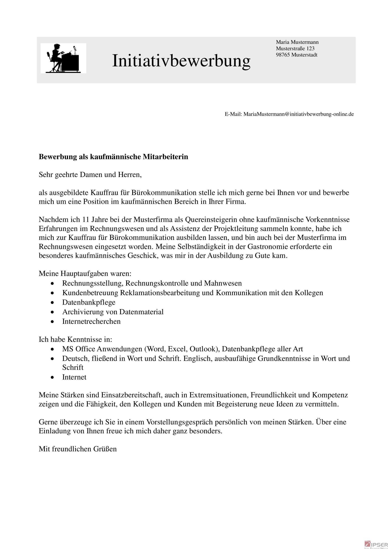 Anschreiben Zur Initiativbewerbung Als Kaufmannische Mitarbeiterin Bewerbung Schreiben Bewerbung Anschreiben Bewerbung Anschreiben Muster