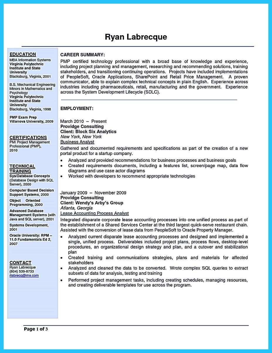 Cool Best Secrets About Creating Effective Business Systems Analyst Resume Business Analyst Resume Business Analyst Resume Summary Examples