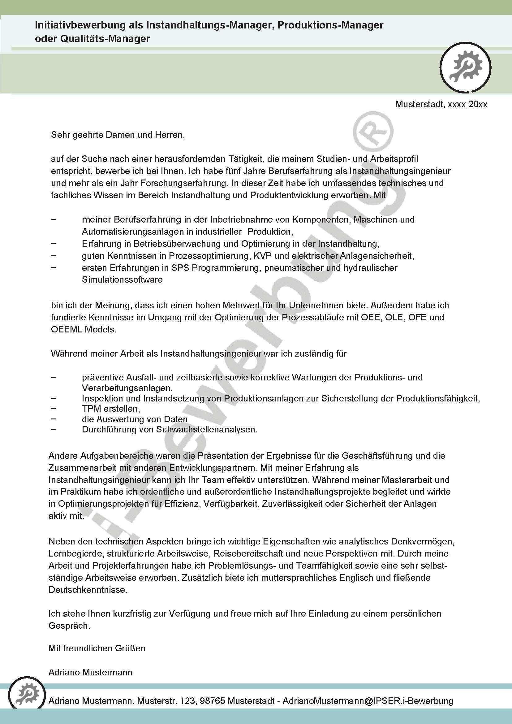 Initiativbewerbung Instandhaltungsmanager Anschreiben Adriano 631 Bewerbung Schreiben Anschreiben Bewerbung