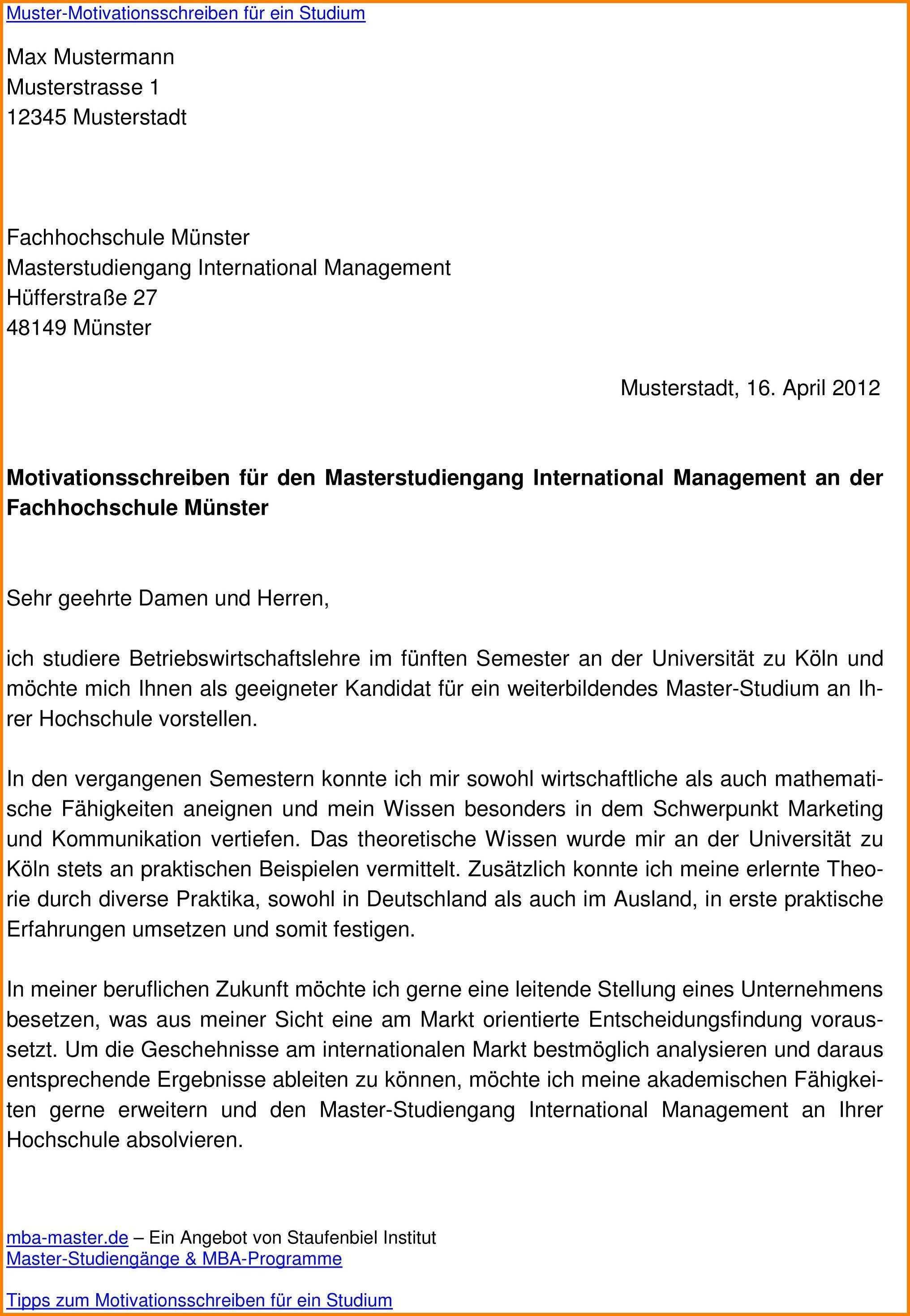 Motivationsschreiben Visum Studium Deutschland Muster