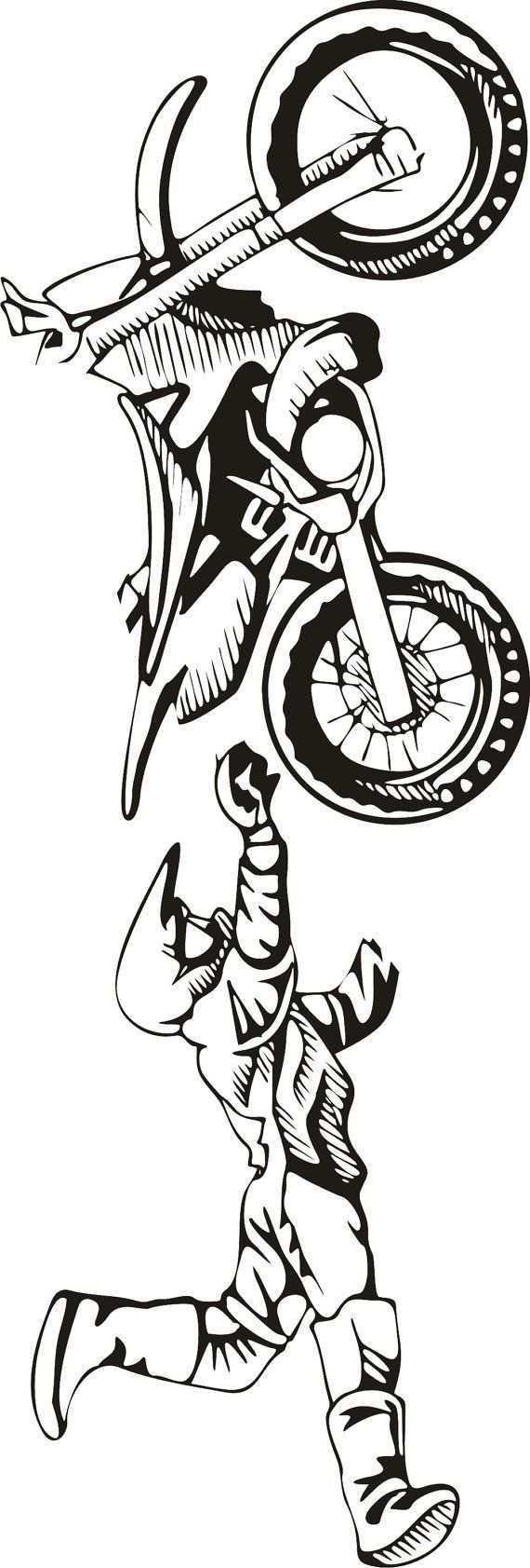 Large Motocross Vinyl Decal Wall Sticker Wall Tattoo Tatuagem Motocross Desenhos De Motocross Adesivos Para Motos