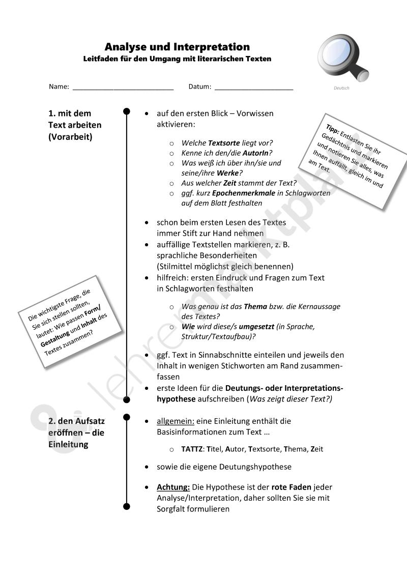 Analyse Und Interpretation Leitfaden Fur Alle Literarischen Texte Kurzgeschichte Gedicht Etc Formulierungshil Literary Text Writing A Term Paper Teaching