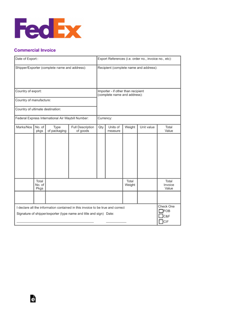 Free Fedex Commercial Invoice Template Pdf Eforms Free Regarding Fedex Proforma Invoice Template 1 Invoice Template Word Invoice Template Business Template