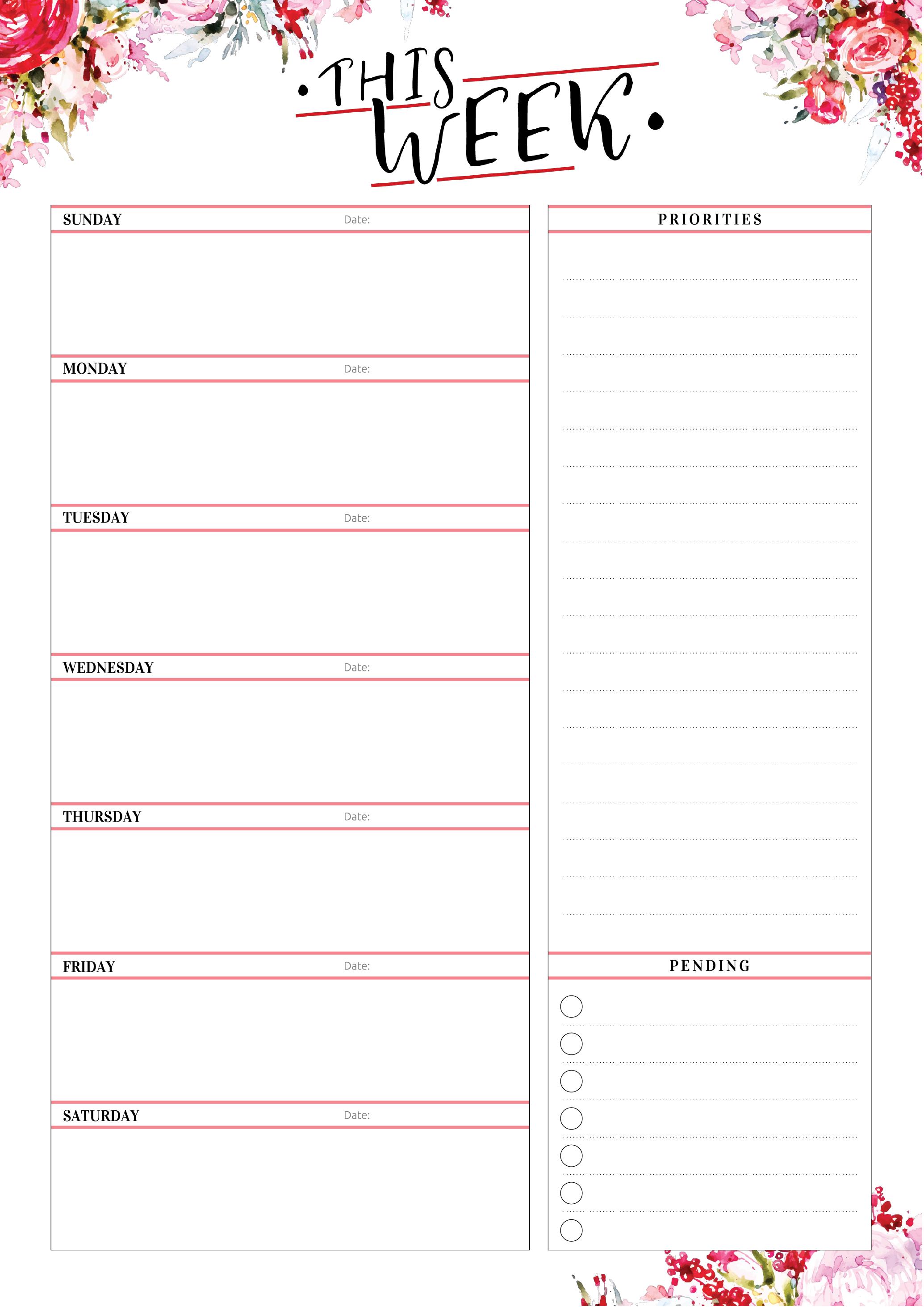 Free Printable Weekly Planner With Priorities Pdf Download Weekly Planner Template Weekly Planner Free Printable Weekly Planner Free