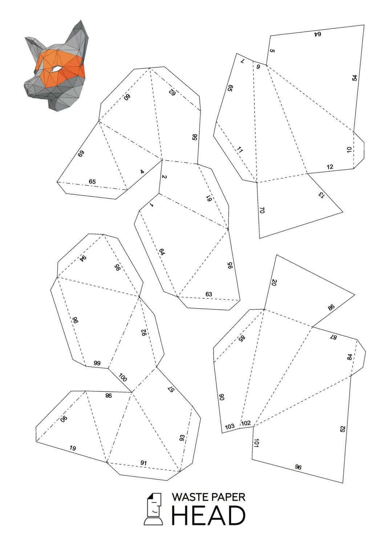 11 Papercraft Fox Mask Printable Digital Template Paper Crafts Diy Paper Fox Mask