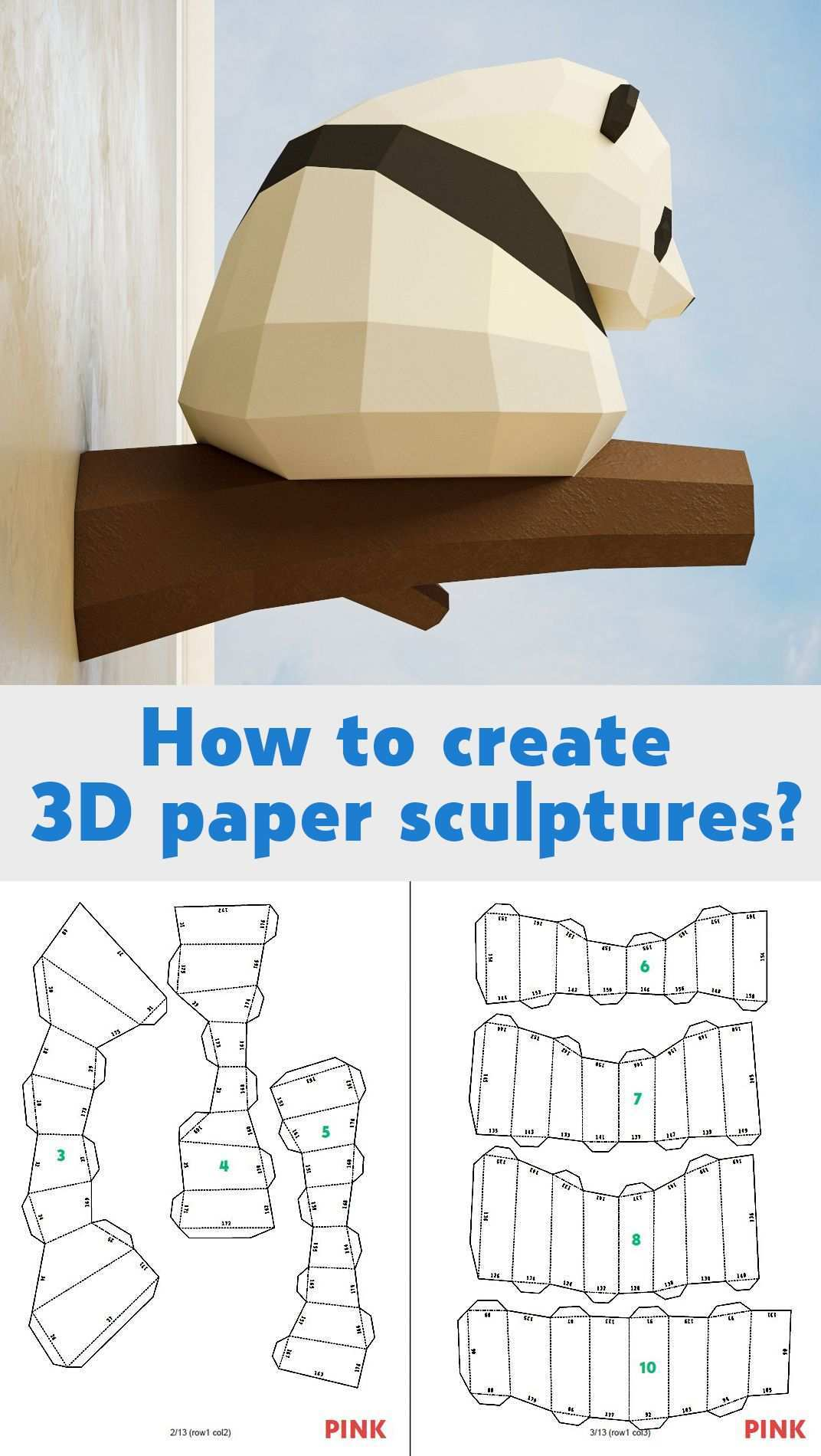 Papercraft Little Panda Diy Paper Craft 3d Template Pdf Kit Make Your Own Low Poly Baby Panda Origami Pepakura Home Decor Idea Statue Paper Crafts Diy Paper Crafts Paper Crafts Origami