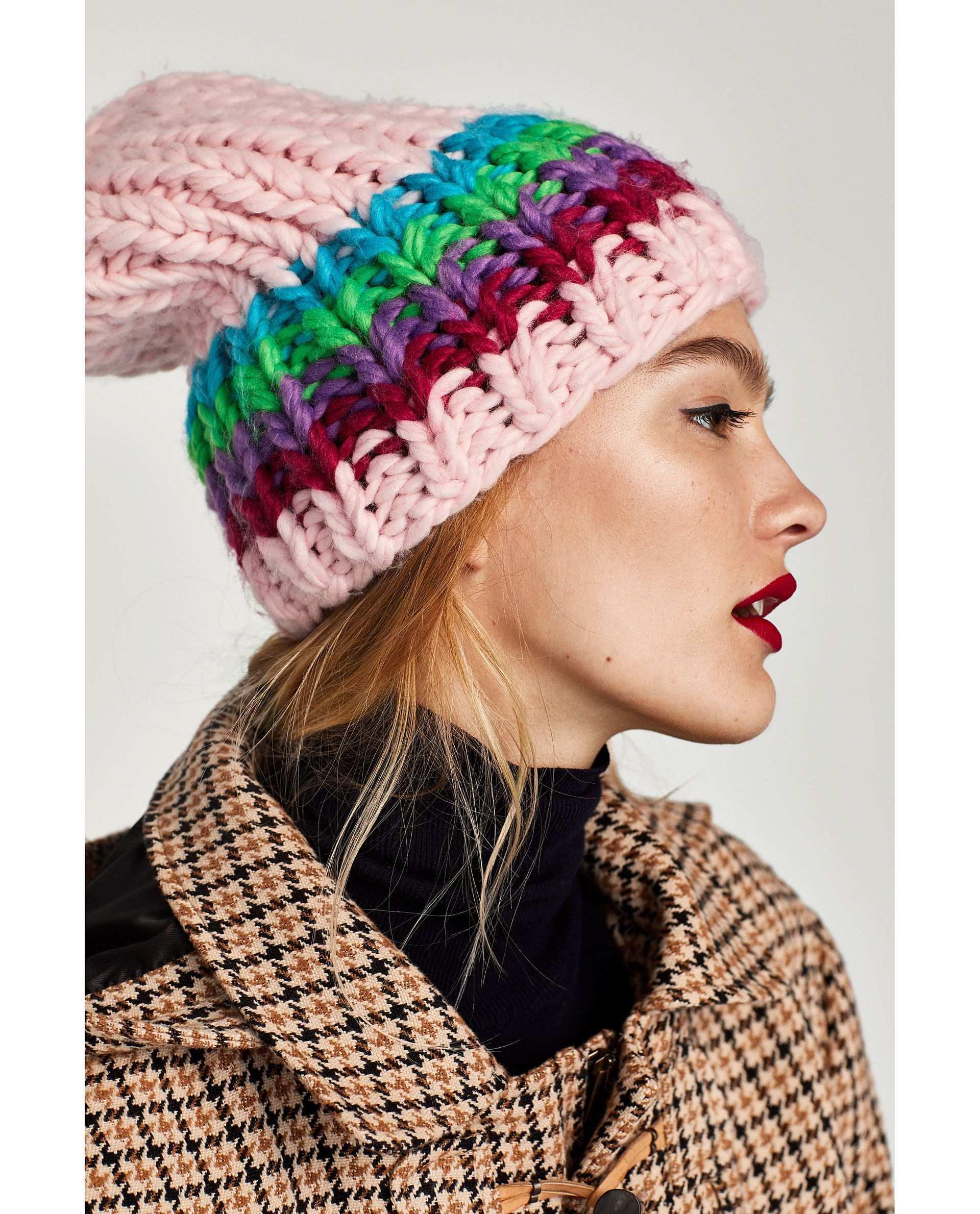 Zara Woman Knitted Beanie Extravagante Hute Stricken Strickmutze