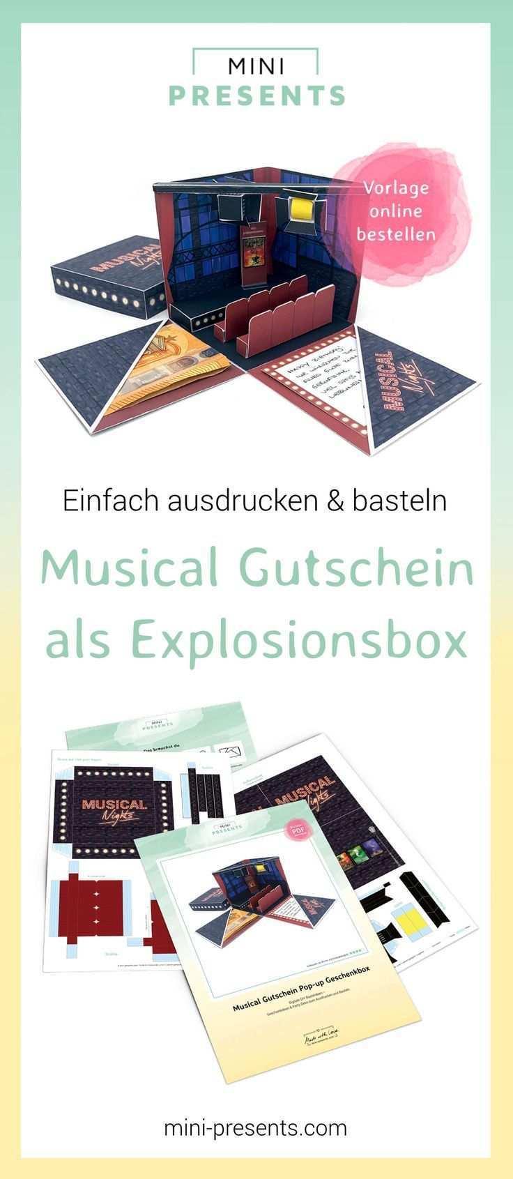 Mini Presents Musical Gutschein Explosionsbox Als Geschenk Ausdrucken Basteln Schenke Gluckliche Momente Originelle Diy Papiergeschenke Zum Ausdrucken Fu Musical Gutschein Geschenke Basteln Geschenke
