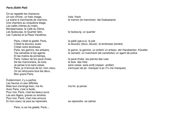 Paris Ein Chanson Von Edith Piaf Analyse Unterrichtsmaterial Im Fach Franzosisch Franzosisch Lernen Fur Kinder Franzosischunterricht Franzosisch Lernen