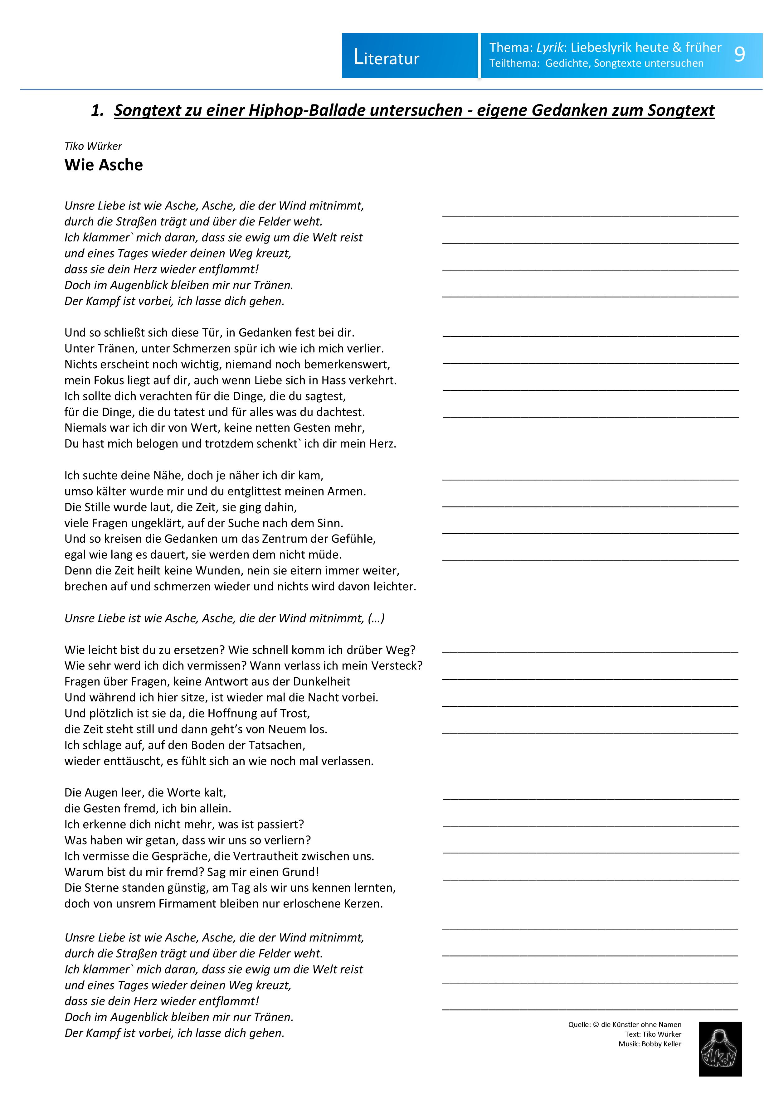 Liebeslyrik Analyse Und Interpretation Eines Liedtextes Mit Song Unterrichtsmaterial In Den Fachern Deutsch Musik Liebeslyrik Lyrik Liedtext