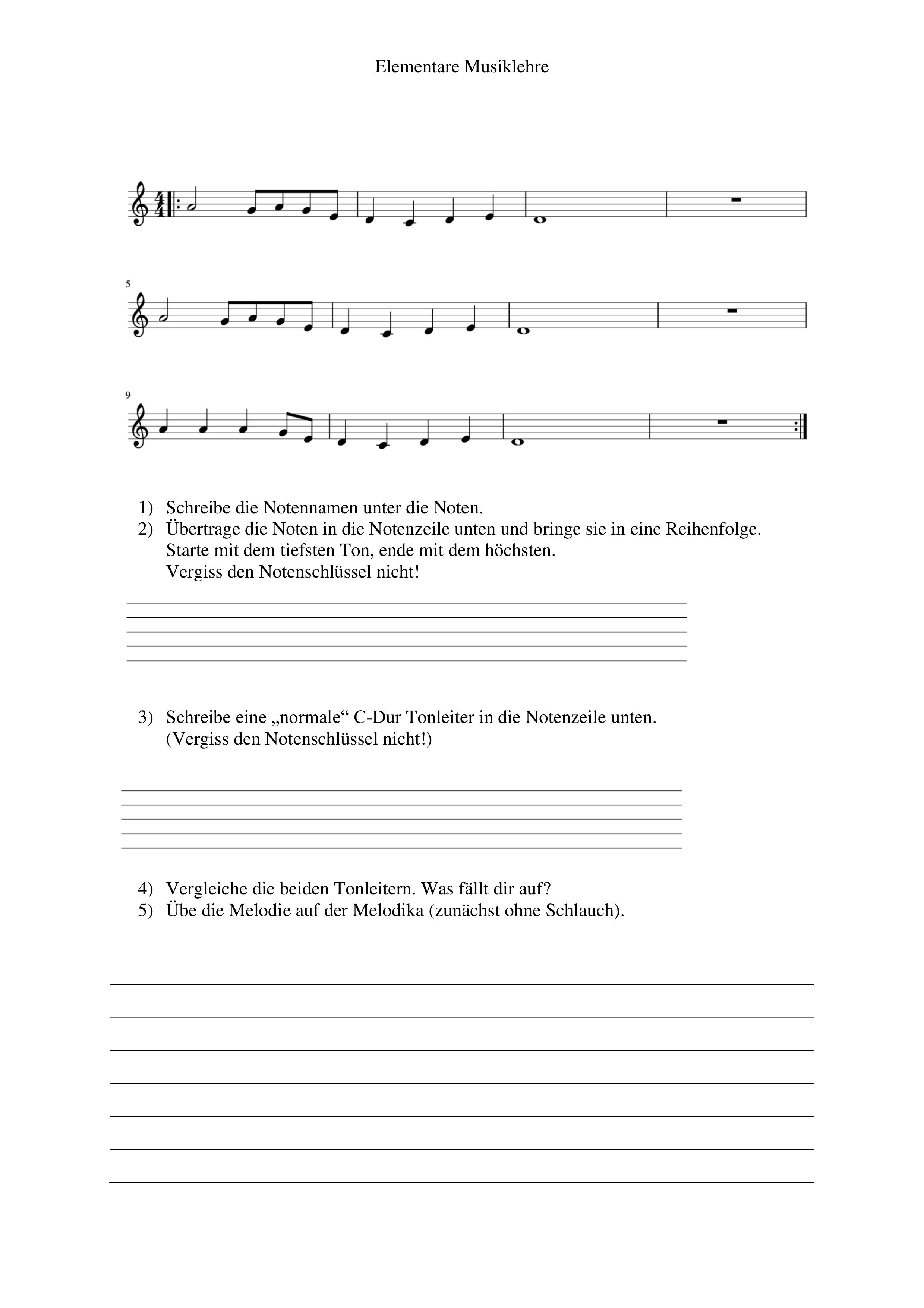Die Pentatonik Unterrichtsmaterial Im Fach Musik Noten Musik Musiktheorie