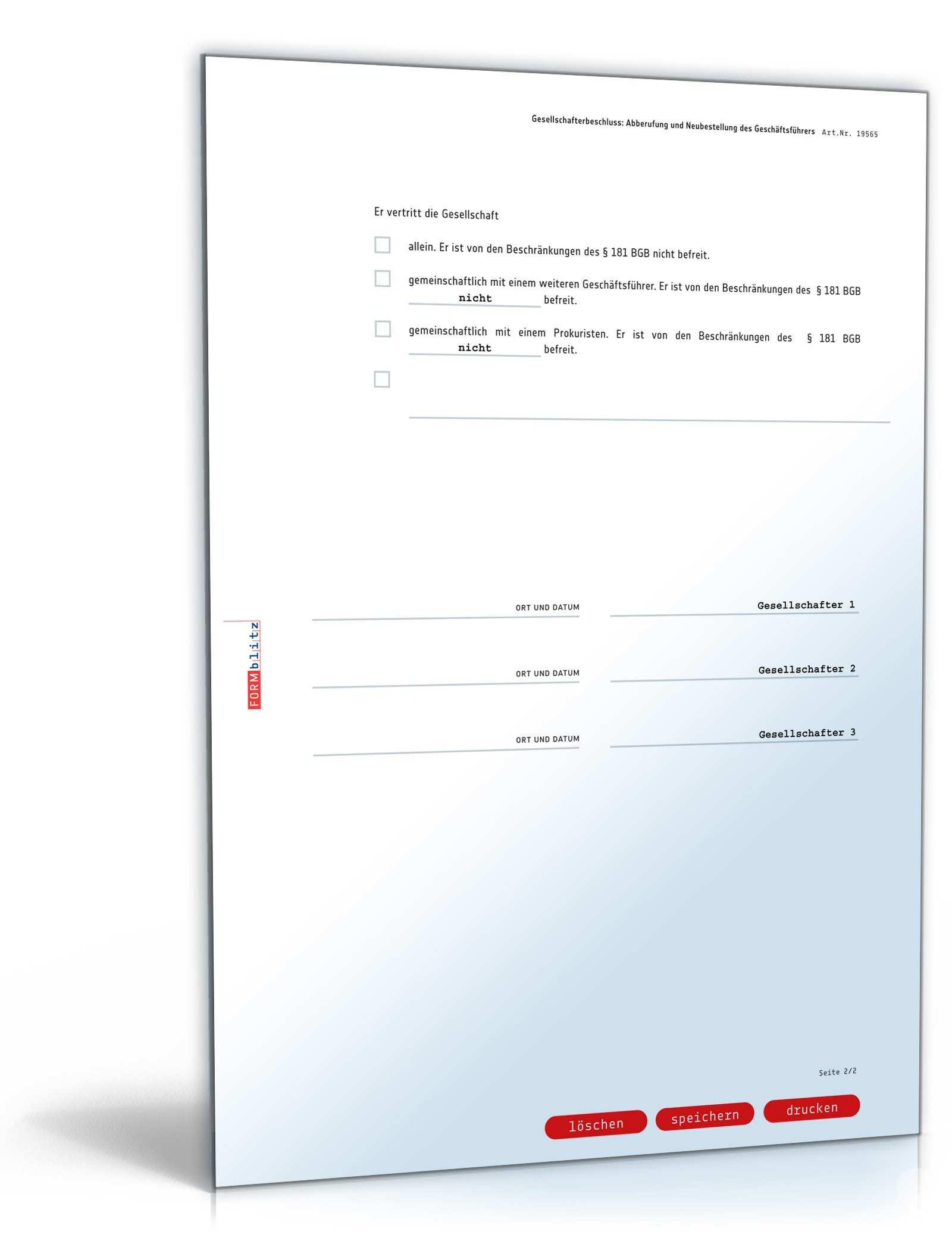 Abberufung Und Neubestellung Geschaftsfuhrer Muster Downloaden