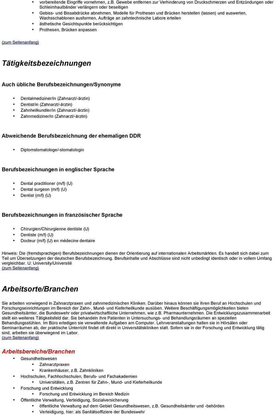 Die Tatigkeit Im Uberblick Aufgaben Und Tatigkeiten Tatigkeitsbeschreibung Von Zahnarzt Zahnarztin Uni Vom Pdf Kostenfreier Download