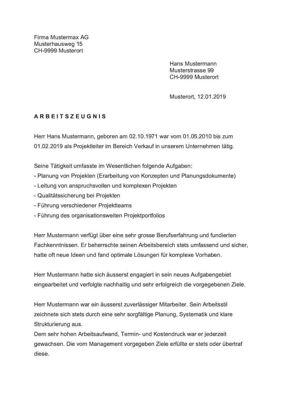 Arbeitszeugnis Muster Vorlagen Schweiz Kostenlos Downloaden