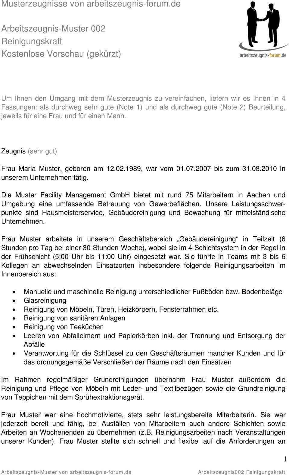 Frau Maria Muster Geboren Am War Vom Bis Zum In Unserem Unternehmen Tatig Pdf Free Download