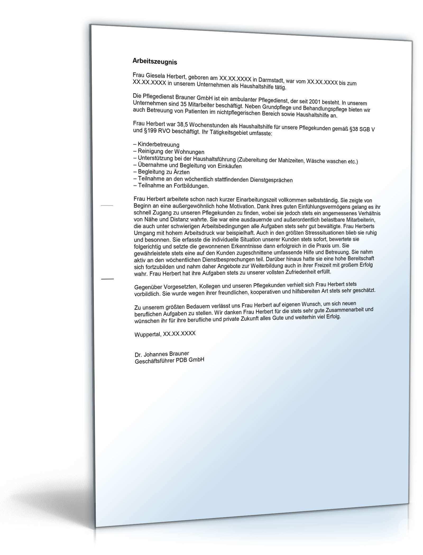 Arbeitszeugnis Haushaltshilfe Rechtssichere Muster