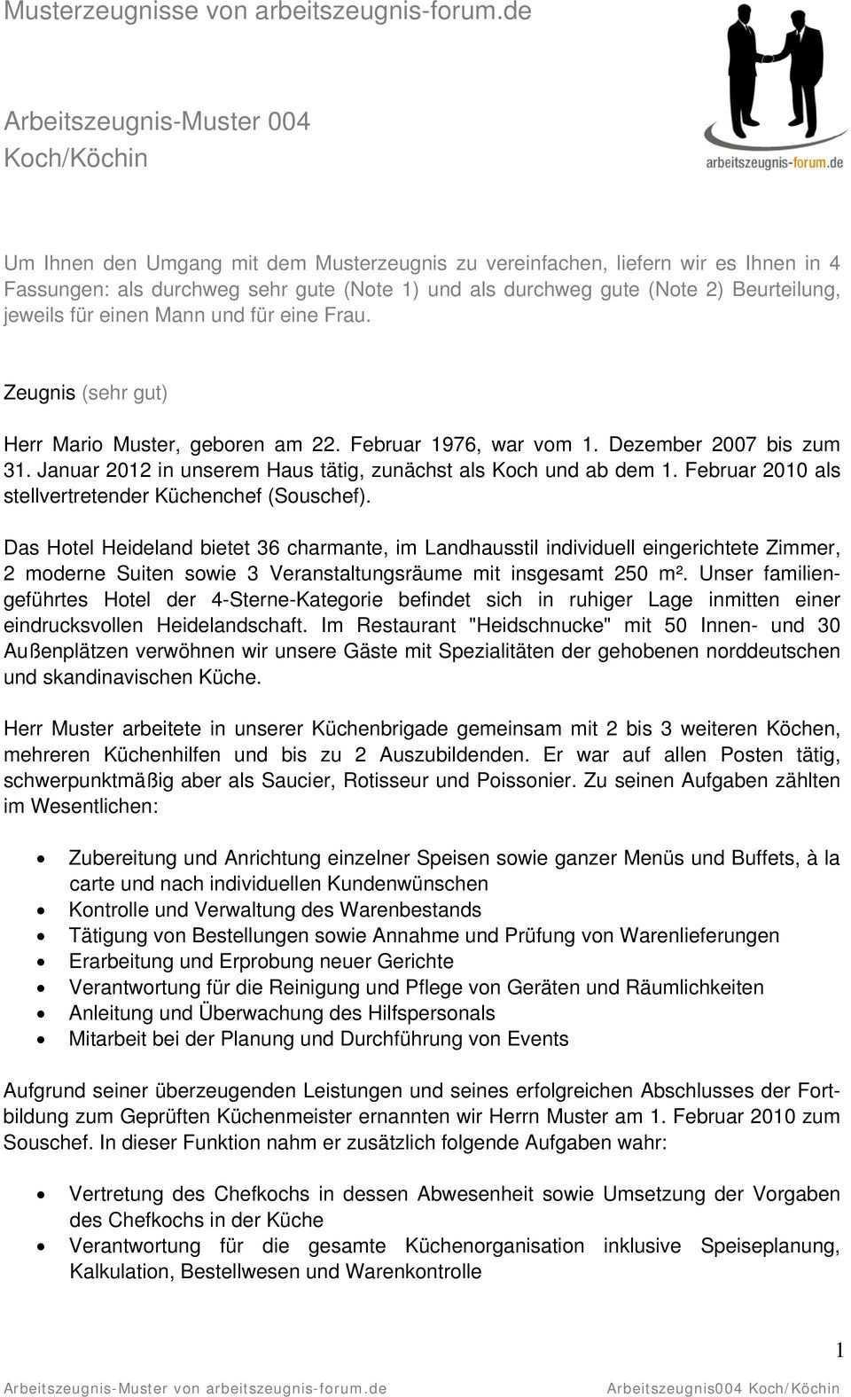 Arbeitszeugnis Muster Von Arbeitszeugnis Forum De Arbeitszeugnis004 Koch Kochin Pdf Free Download
