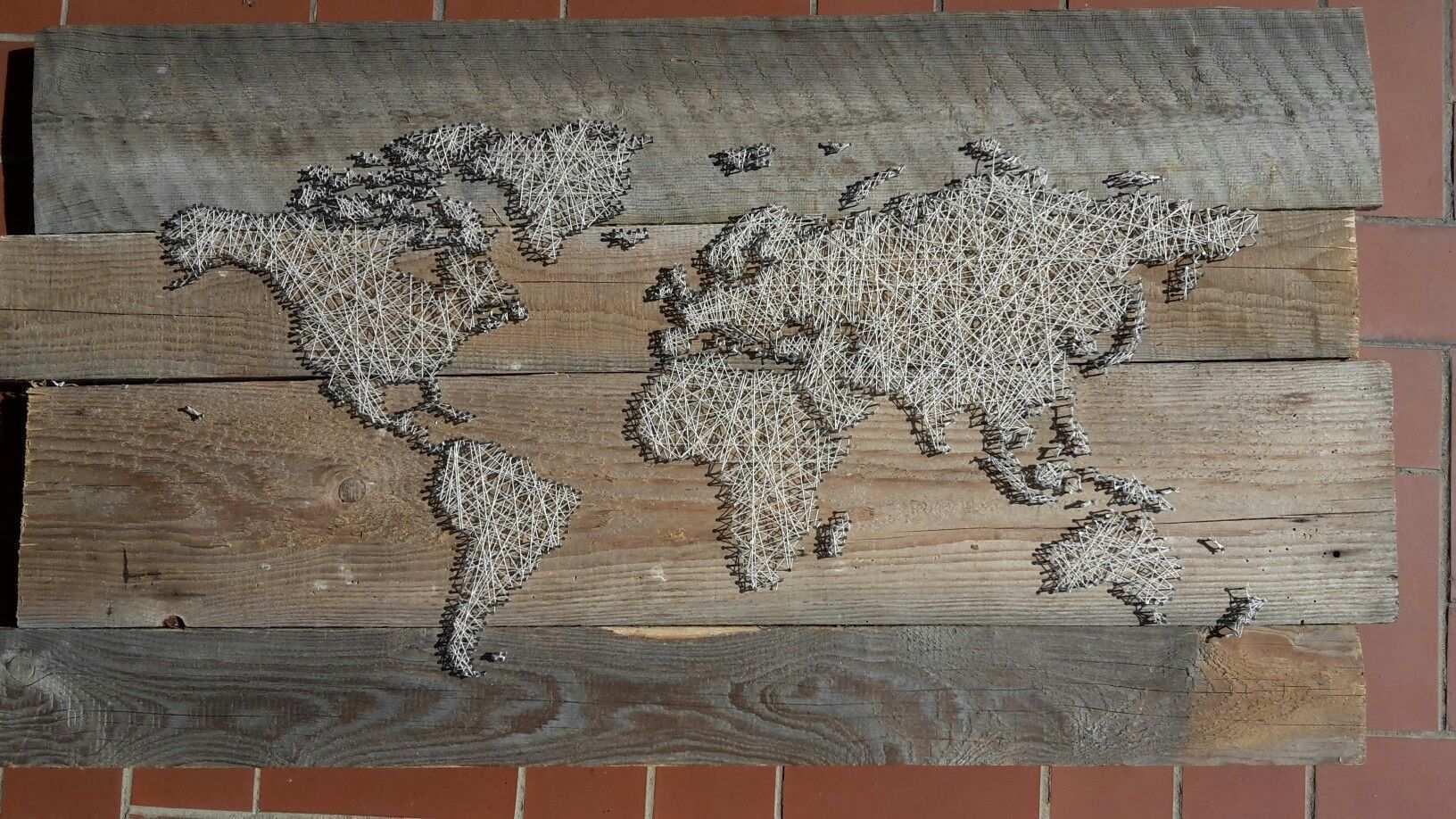 Weltkarte Mit Nagel Und Faden Weltkarte Fadenkunst Karten