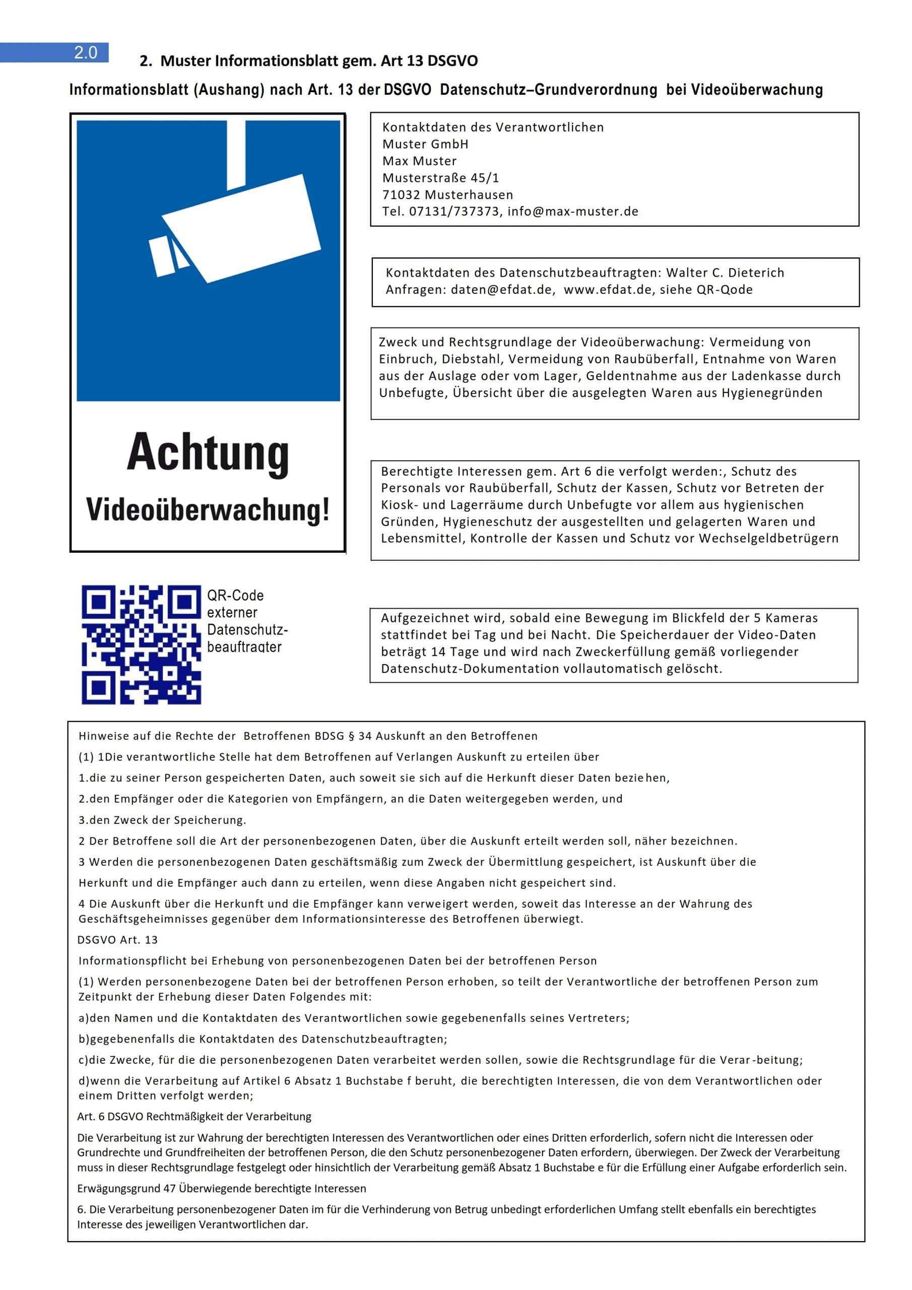 Hinweisschild Und Informationsaushang Gem Art 13 Efdat Institut