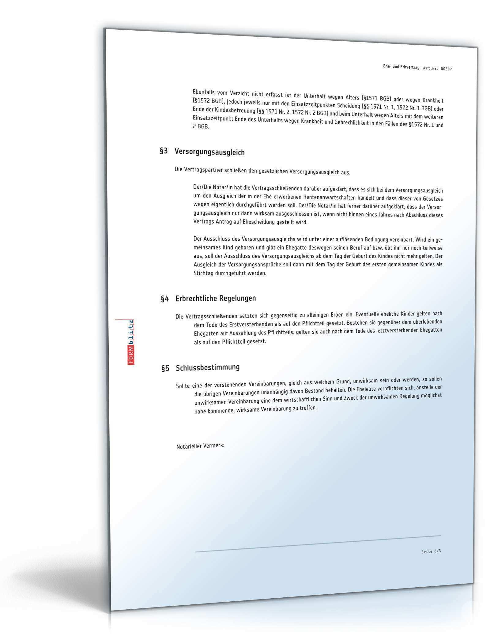 Ehe Und Erbvertrag Gutertrennung Muster Zum Download