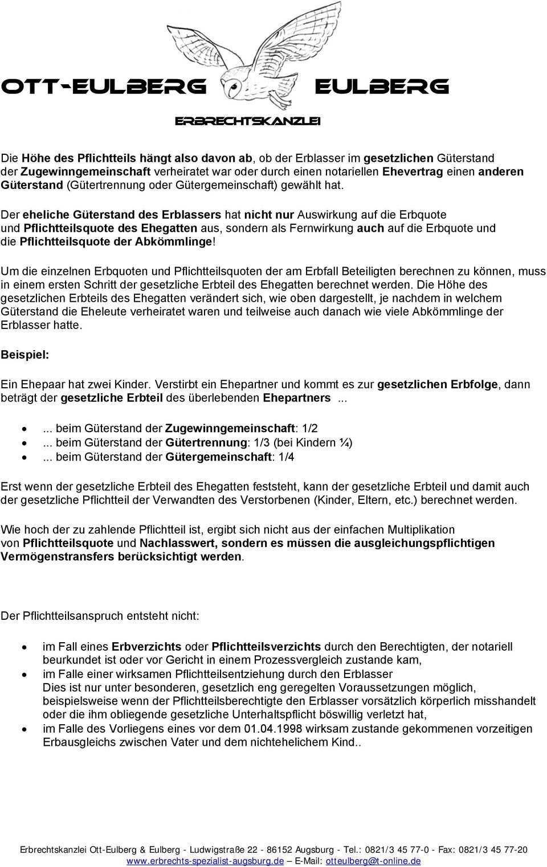 Merkblatt Ubersicht Pflichtteilsrecht Pdf Free Download