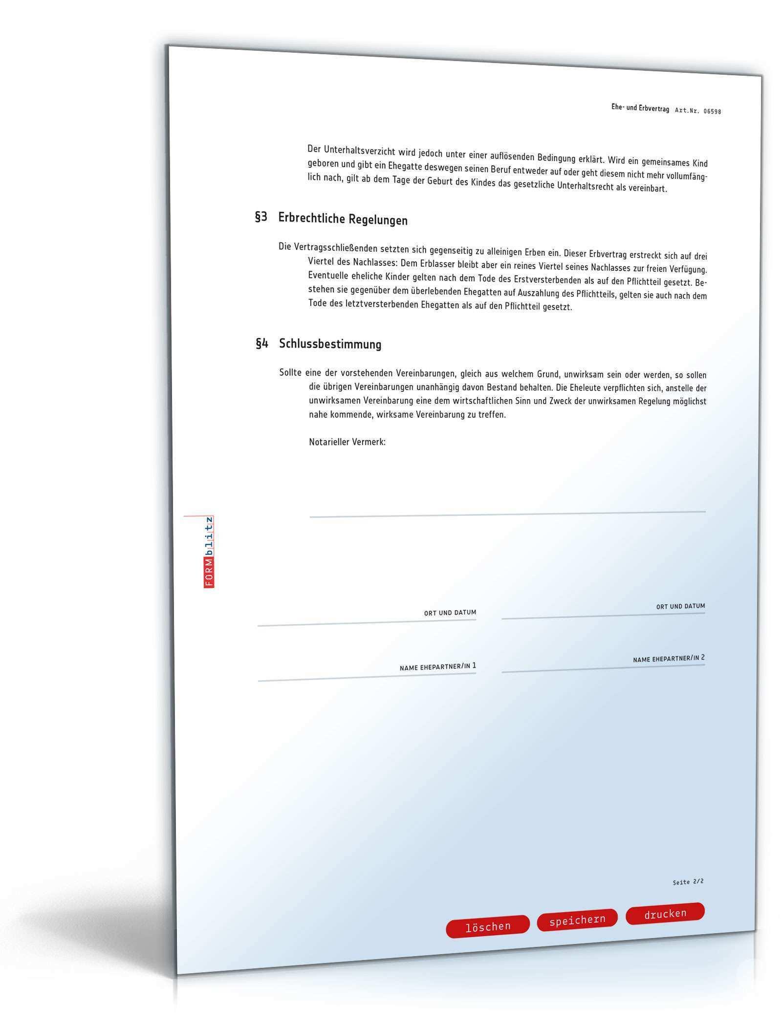 Ehe Und Erbvertrag Mit Gutertrennung Muster Vorlage Zum Download