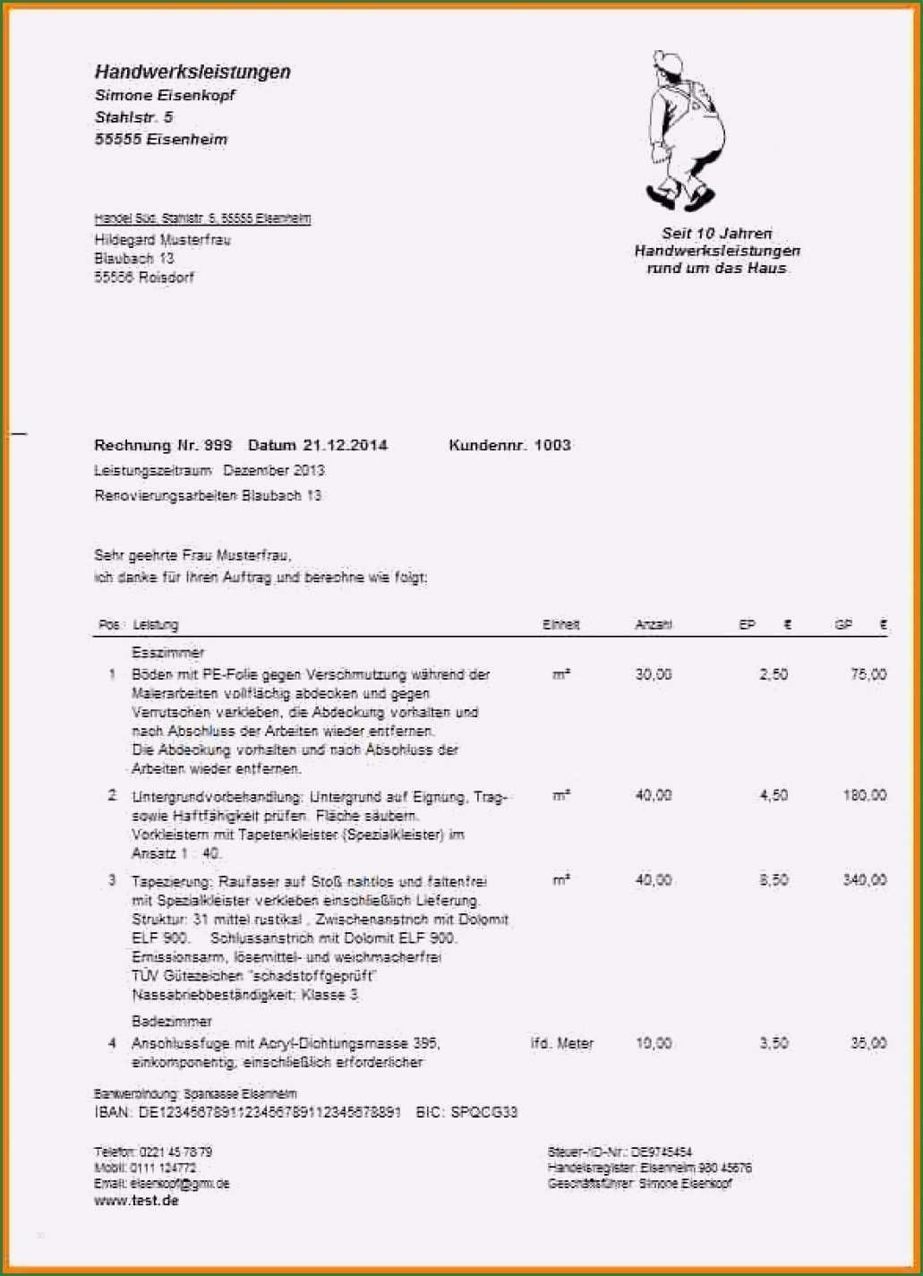11 Aussergewohnlich Handwerkerrechnung Muster Vorlage Briefkopf Vorlage Vorlagen Word Vorlagen