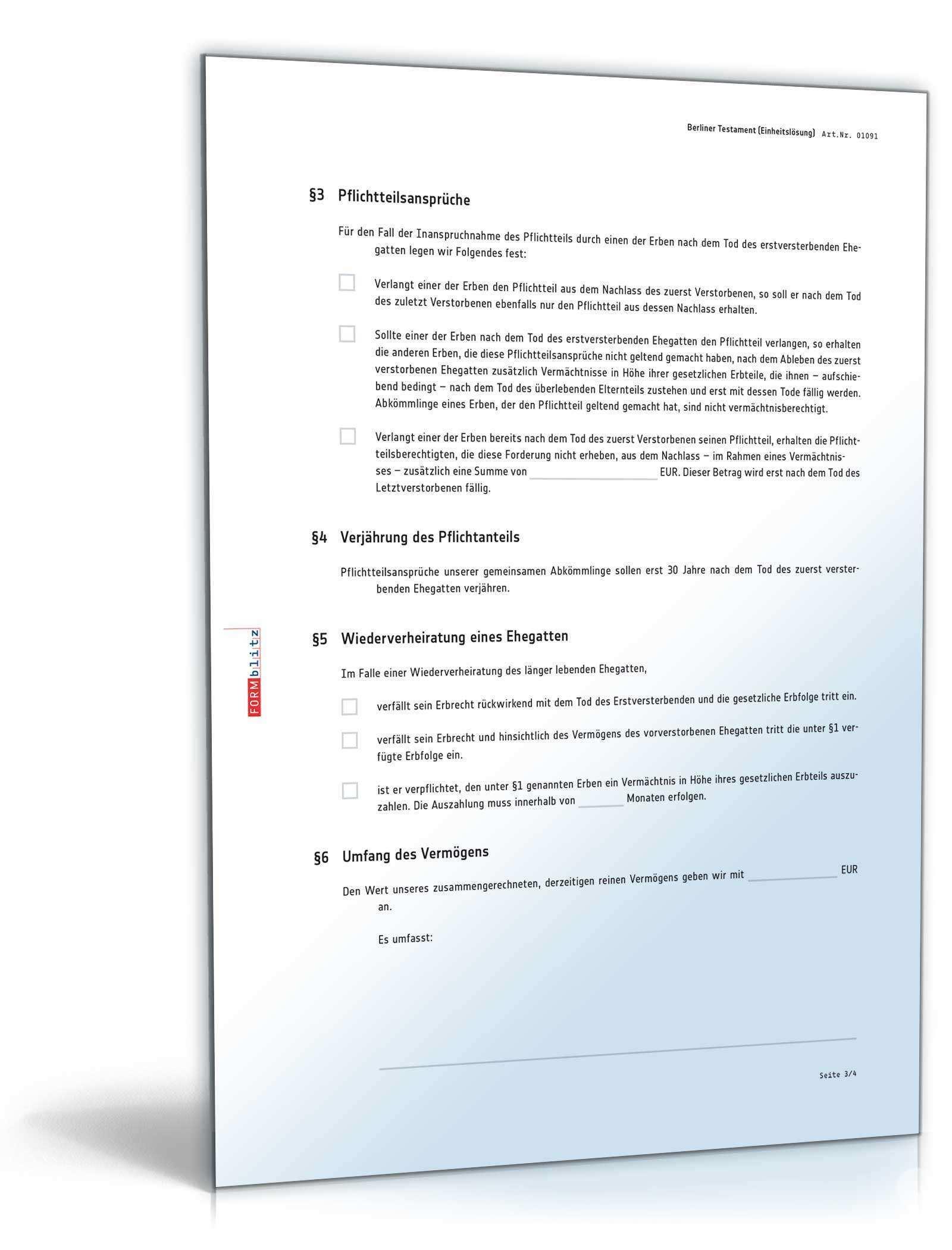 Berliner Testament Einheitslosung Muster Zum Download