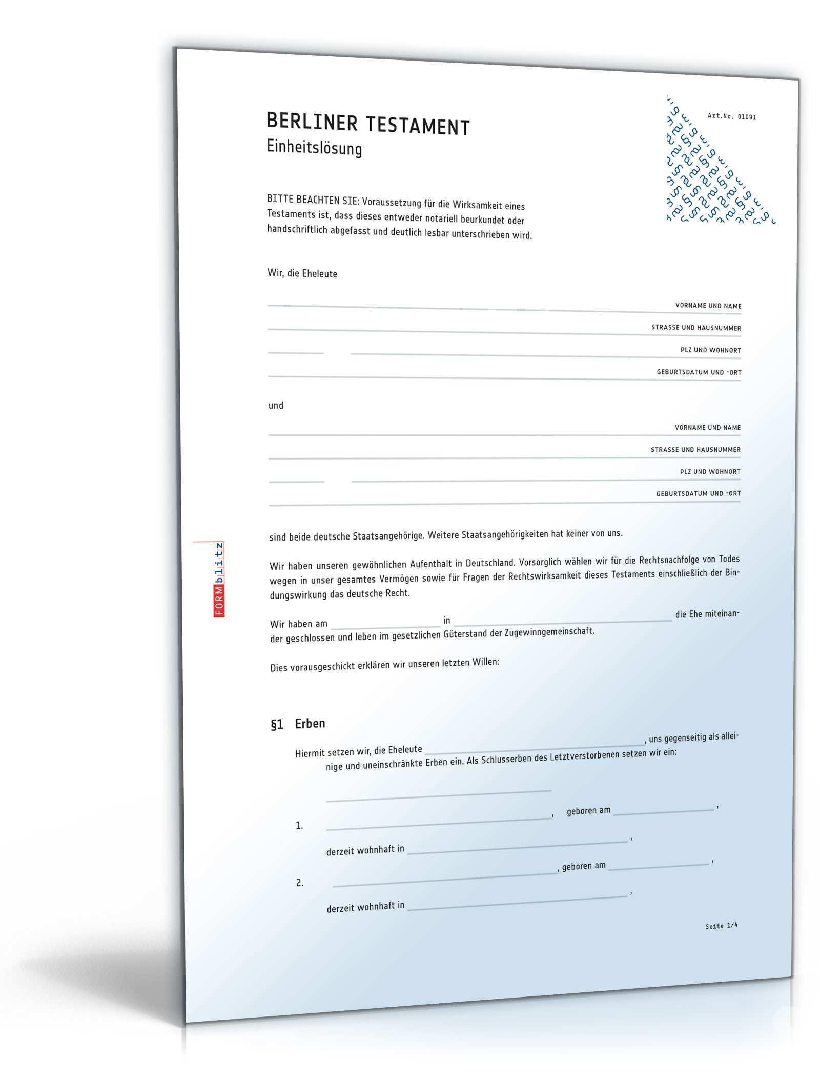 Berliner Testament Einheitslosung De Testament Download
