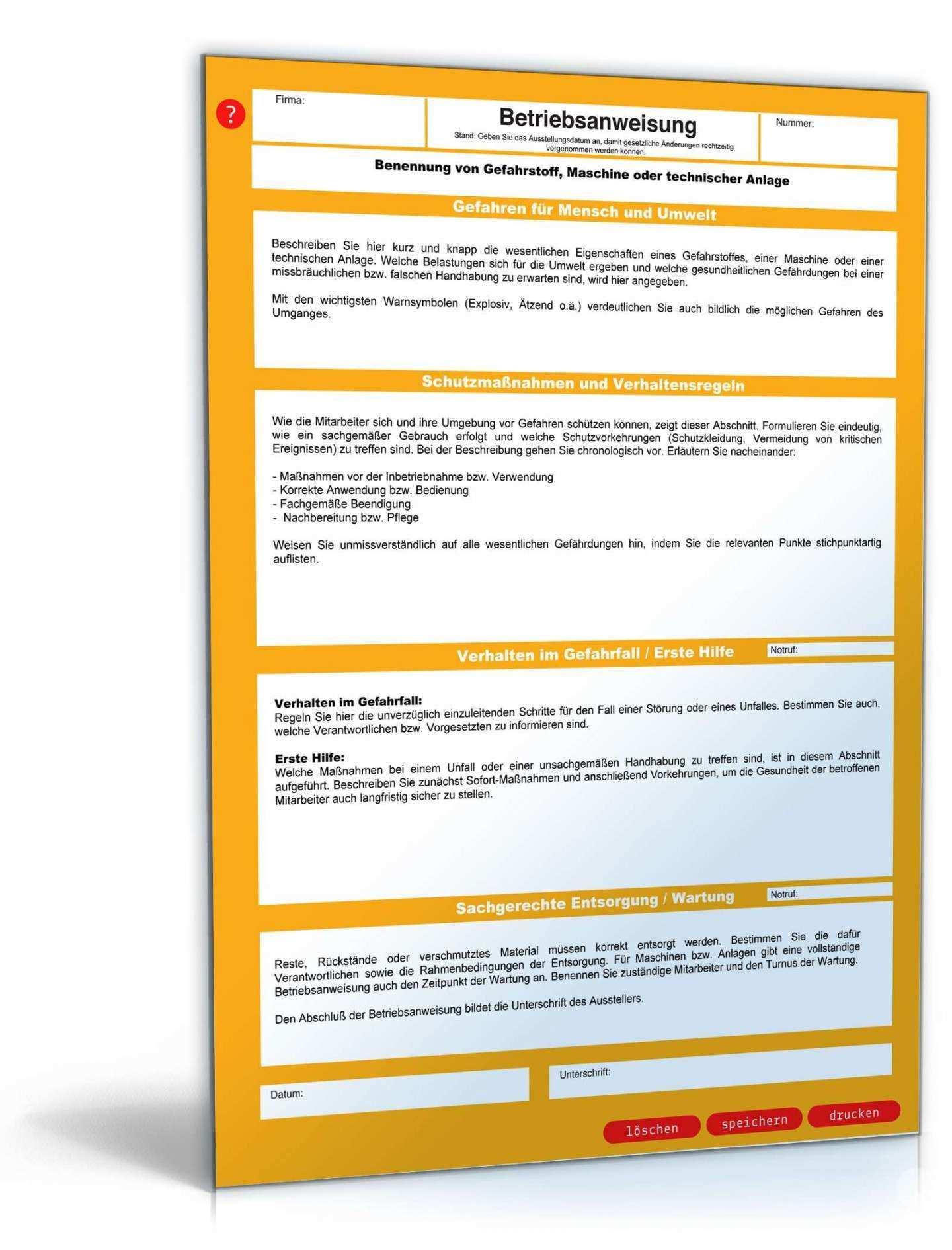 Lovable Unterweisungsnachweis Vorlage Word Betriebsanweisung Unterweisung Vorlagen Word