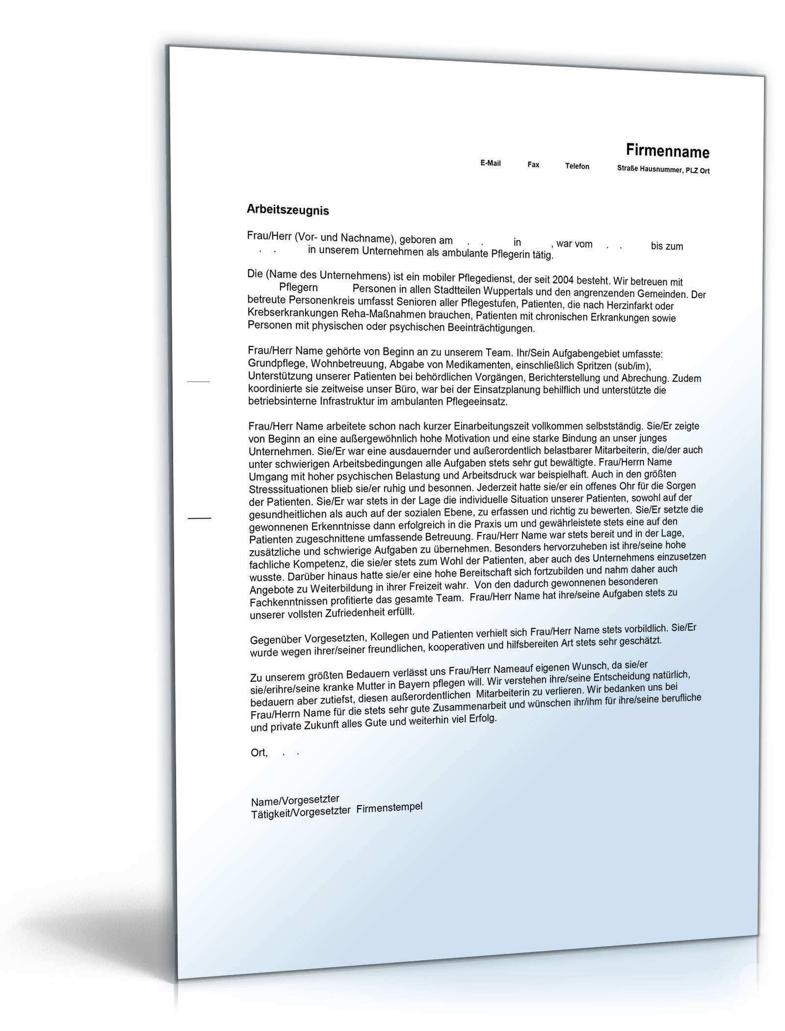 Arbeitszeugnis Pflegepersonal Muster Zum Download