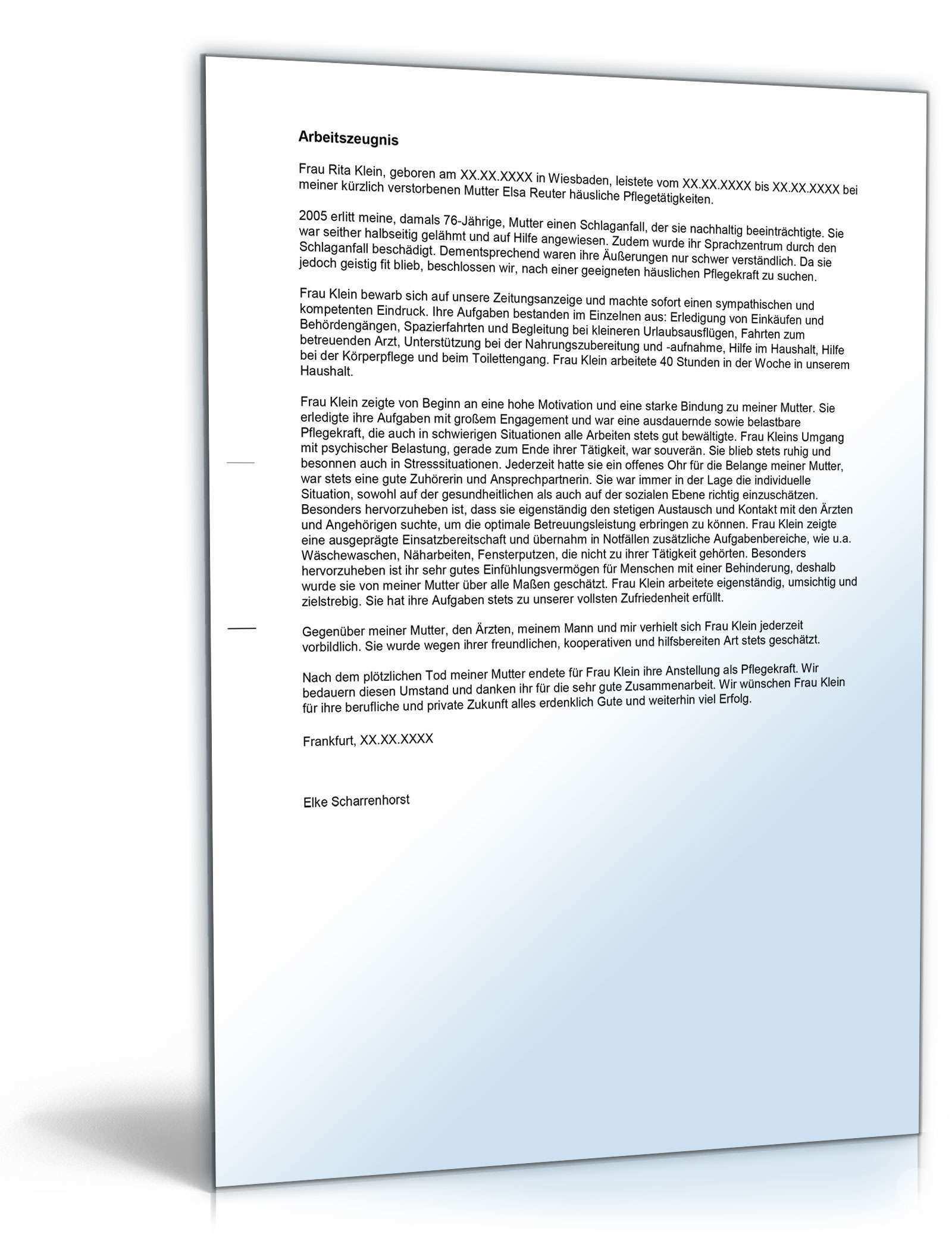 Arbeitszeugnis Pflegehelfer Rechtssichere Muster Downloaden