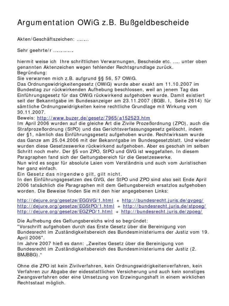 Argumentation Bussgeldbescheid Owig
