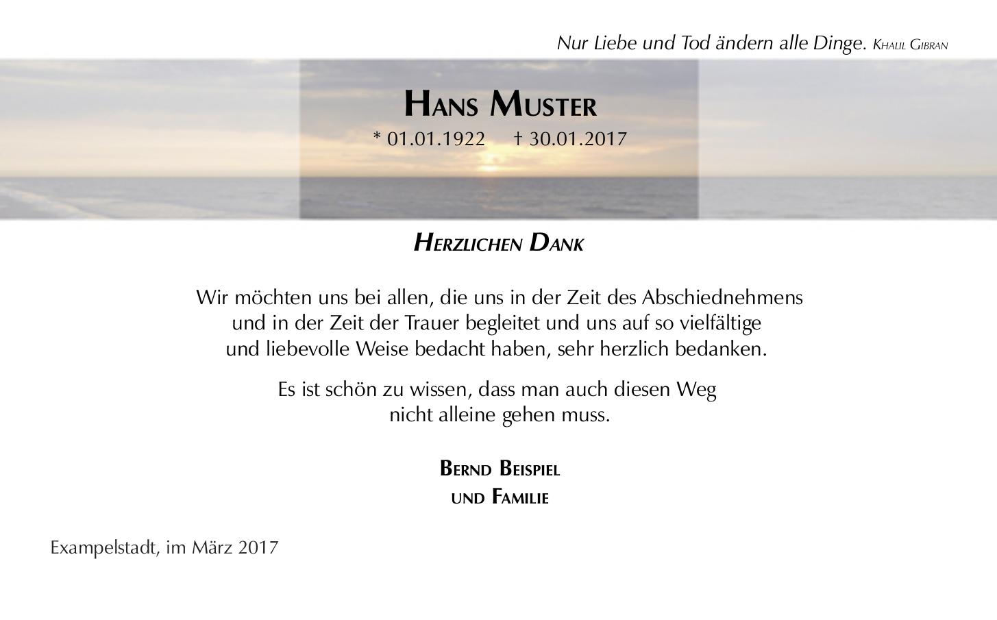 Schone Moderne Danksagungskarte Zur Trauer Motiv Meer Trauer Danksagungen Trauer Danke Sagen
