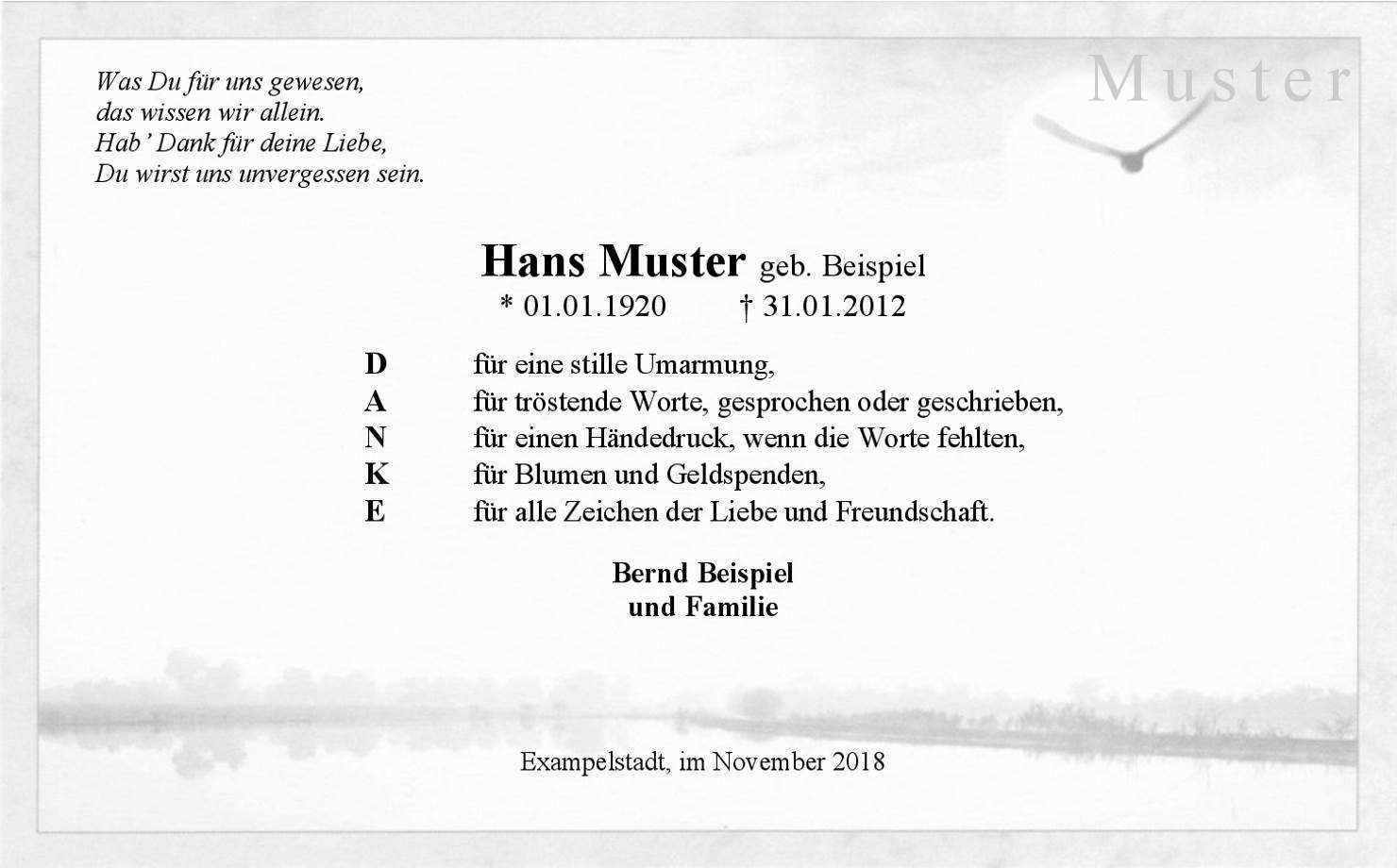 Trauer Danksagungskarte Vogel Am Fluss Danke Danke Sagen Danksagung Text Trostende Worte