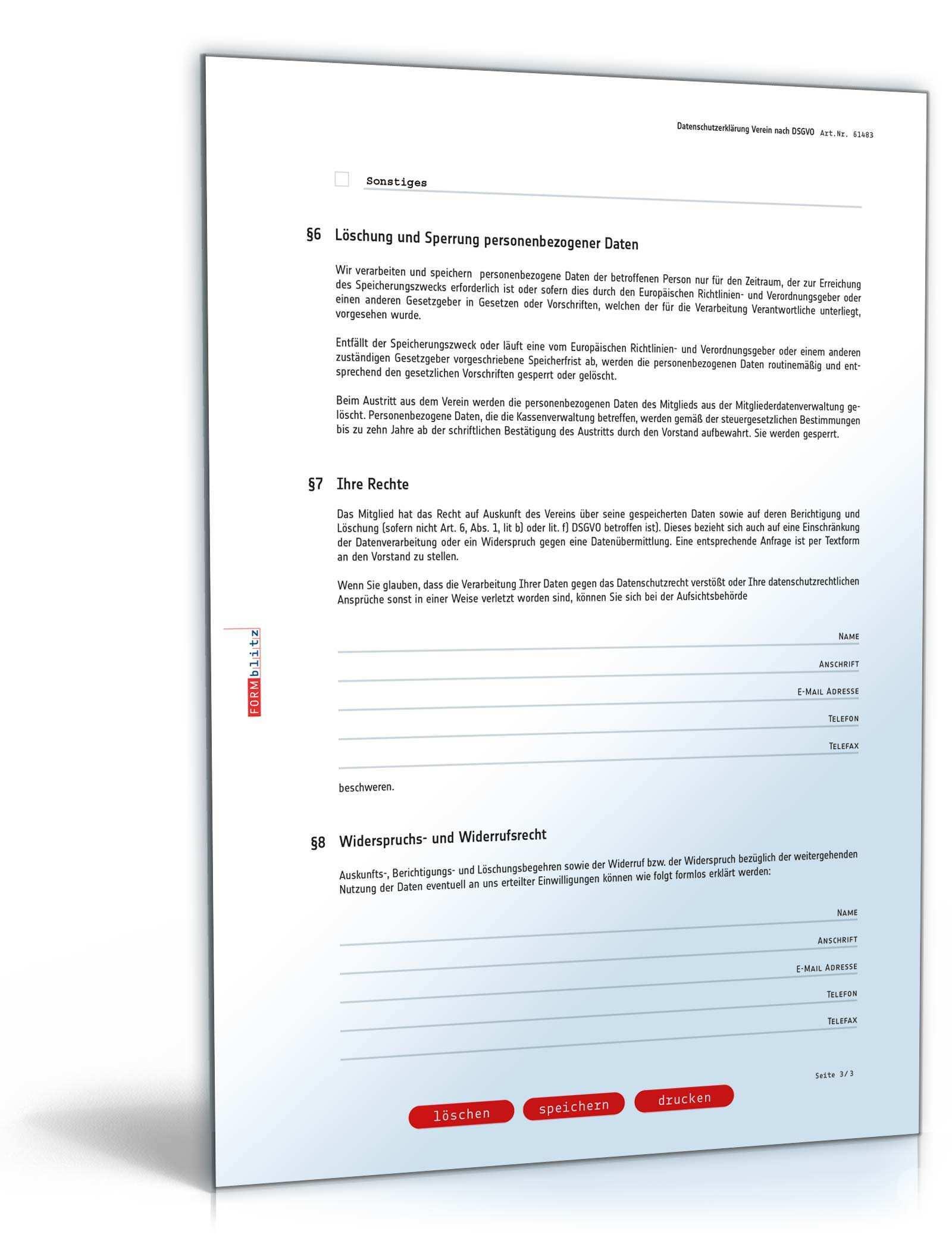 Datenschutzerklarung Verein Muster Zum Download