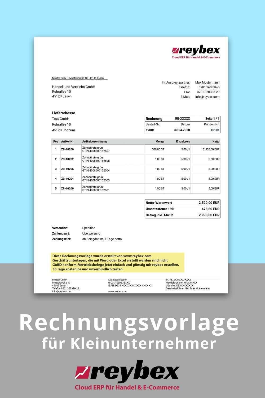 Rechnungsvorlage Muster Rechnung Kleinunternehmer Online Schreiben Rechnungsvorlage Rechnung Vorlage
