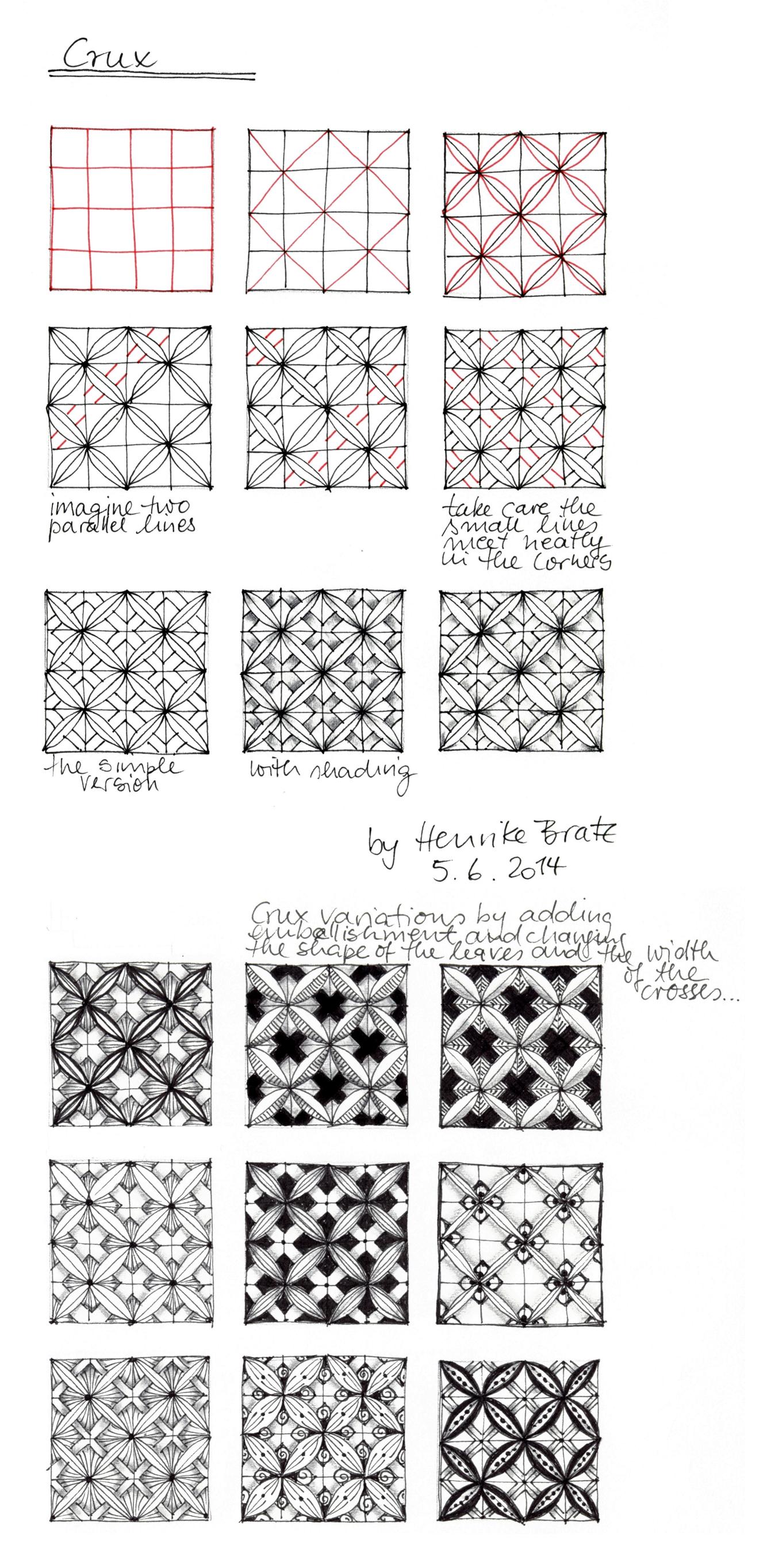 Tangle Pattern Crux Verflechtung Muster Strohsterne Basteln Zentangle Designs