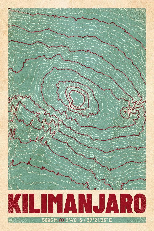 Kilimandscharo Poster Kartografie Topografische Landkarte Retroposter Landkarten Poster Poster