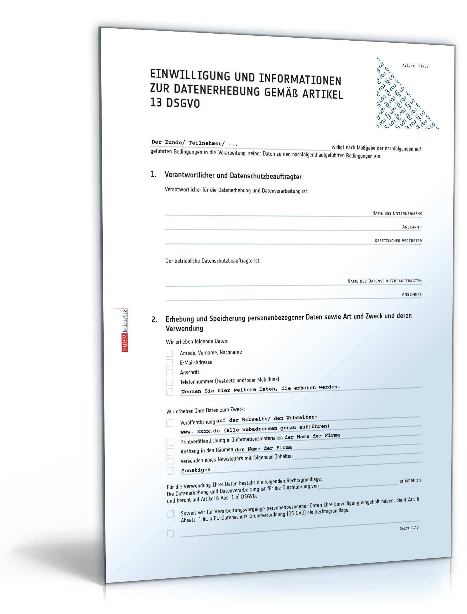 Einwilligung Zur Datenerhebung Muster Zum Download